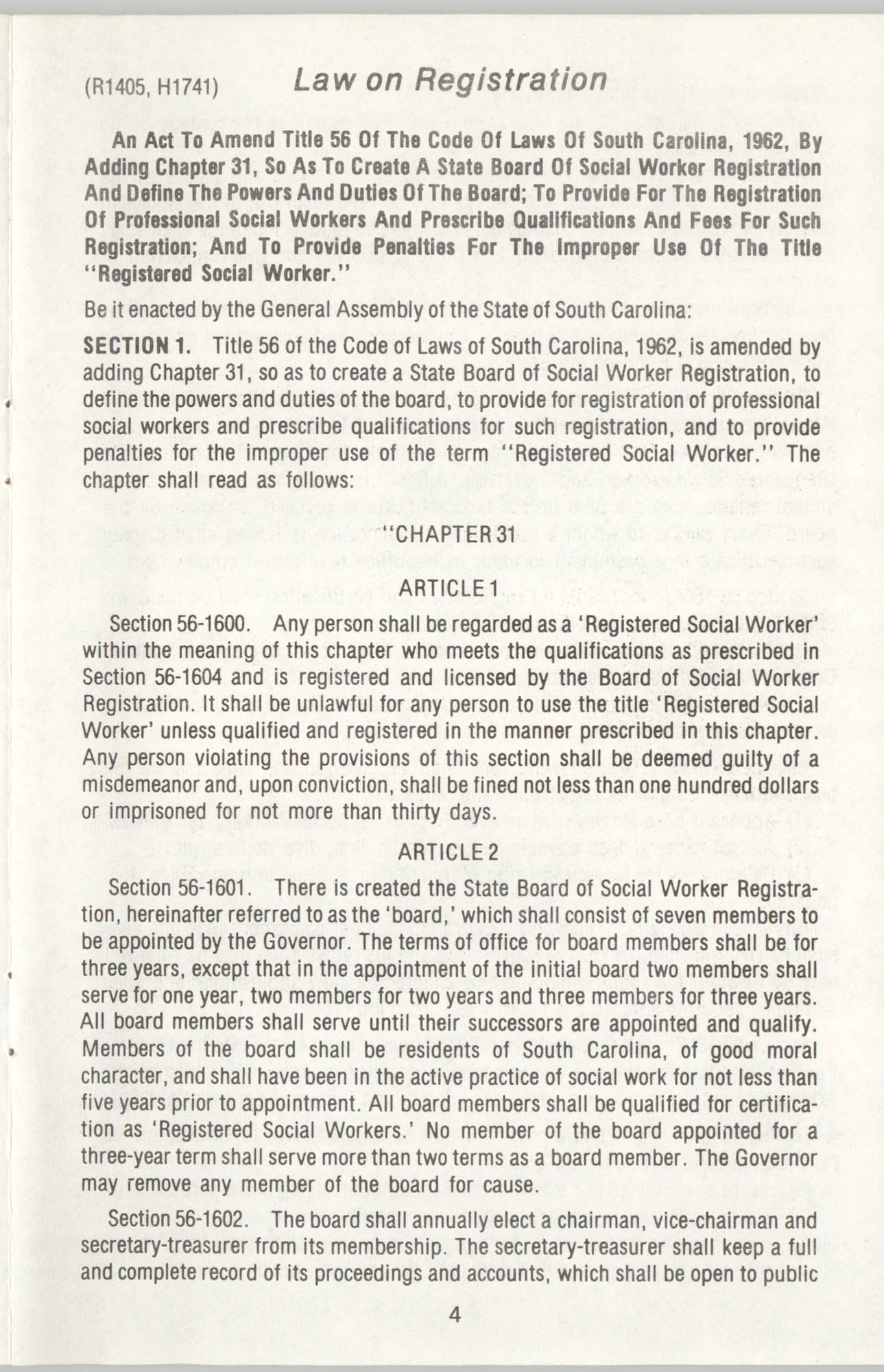 State of South Carolina Directory of Registered Social Workers, 1977, Page 4