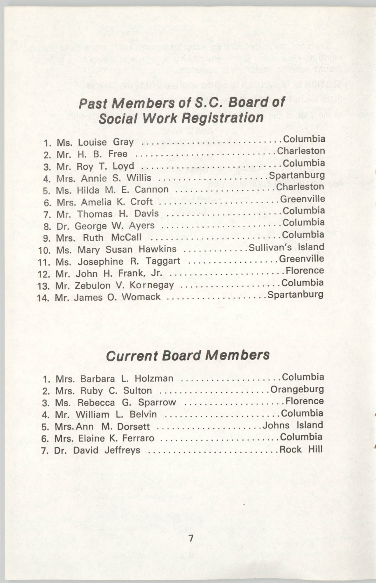 State of South Carolina Directory of Registered Social Workers, 1977, Page 7