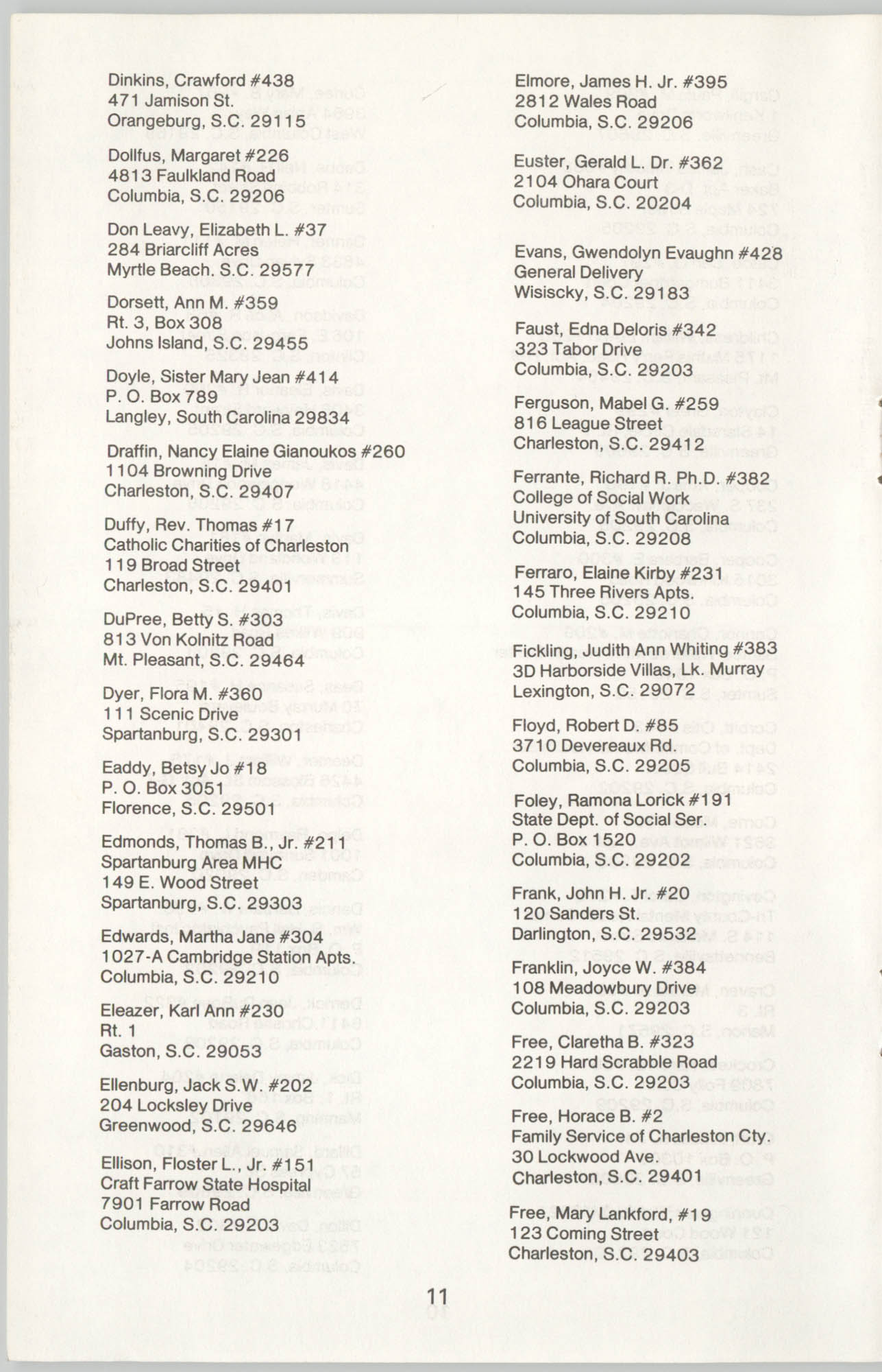 State of South Carolina Directory of Registered Social Workers, 1977, Page 11