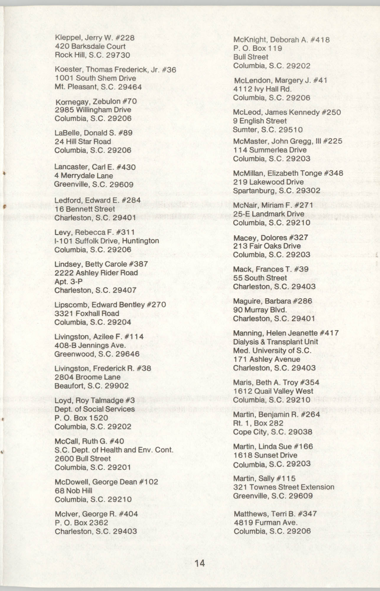 State of South Carolina Directory of Registered Social Workers, 1977, Page 14