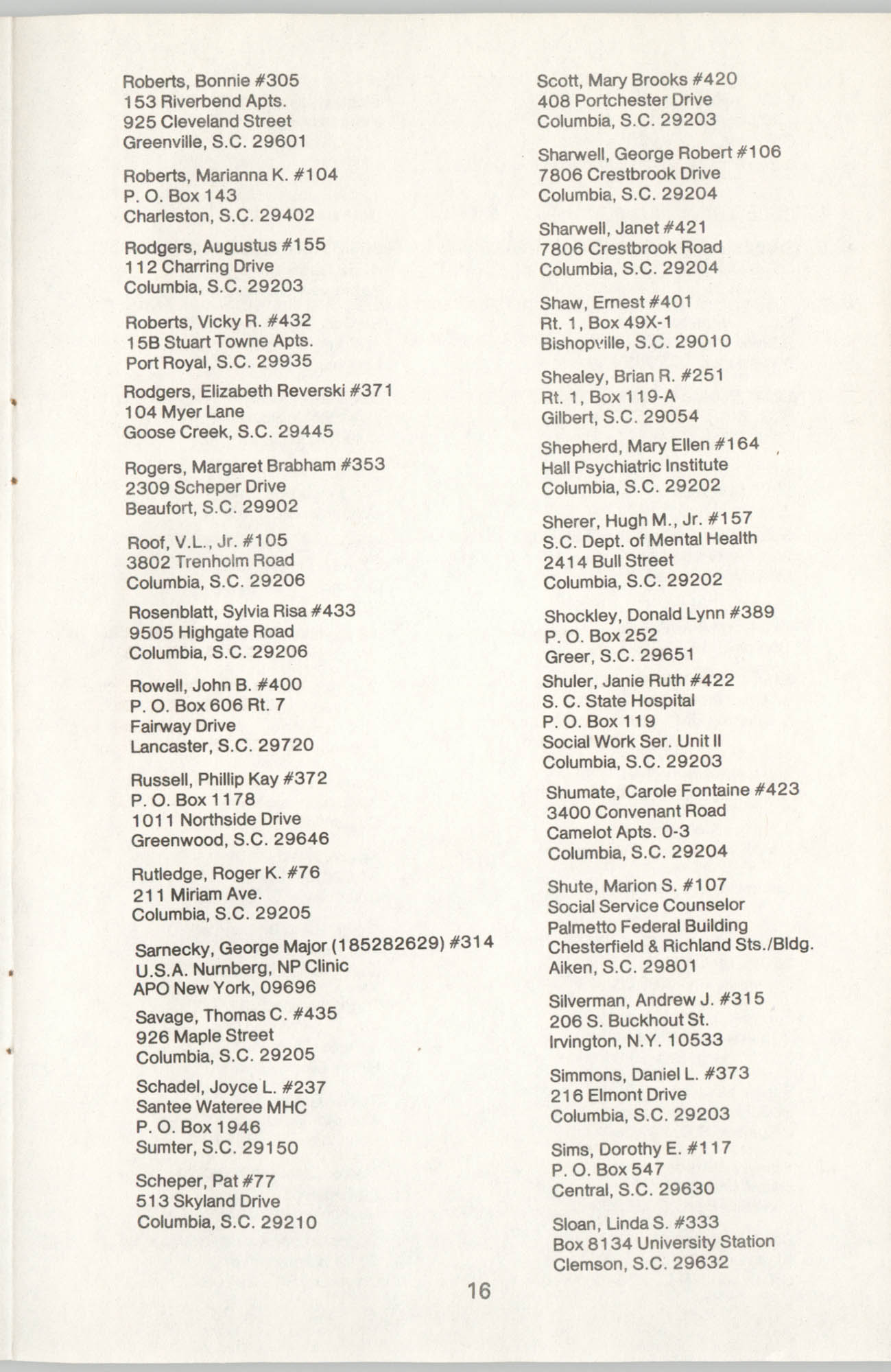 State of South Carolina Directory of Registered Social Workers, 1977, Page 16