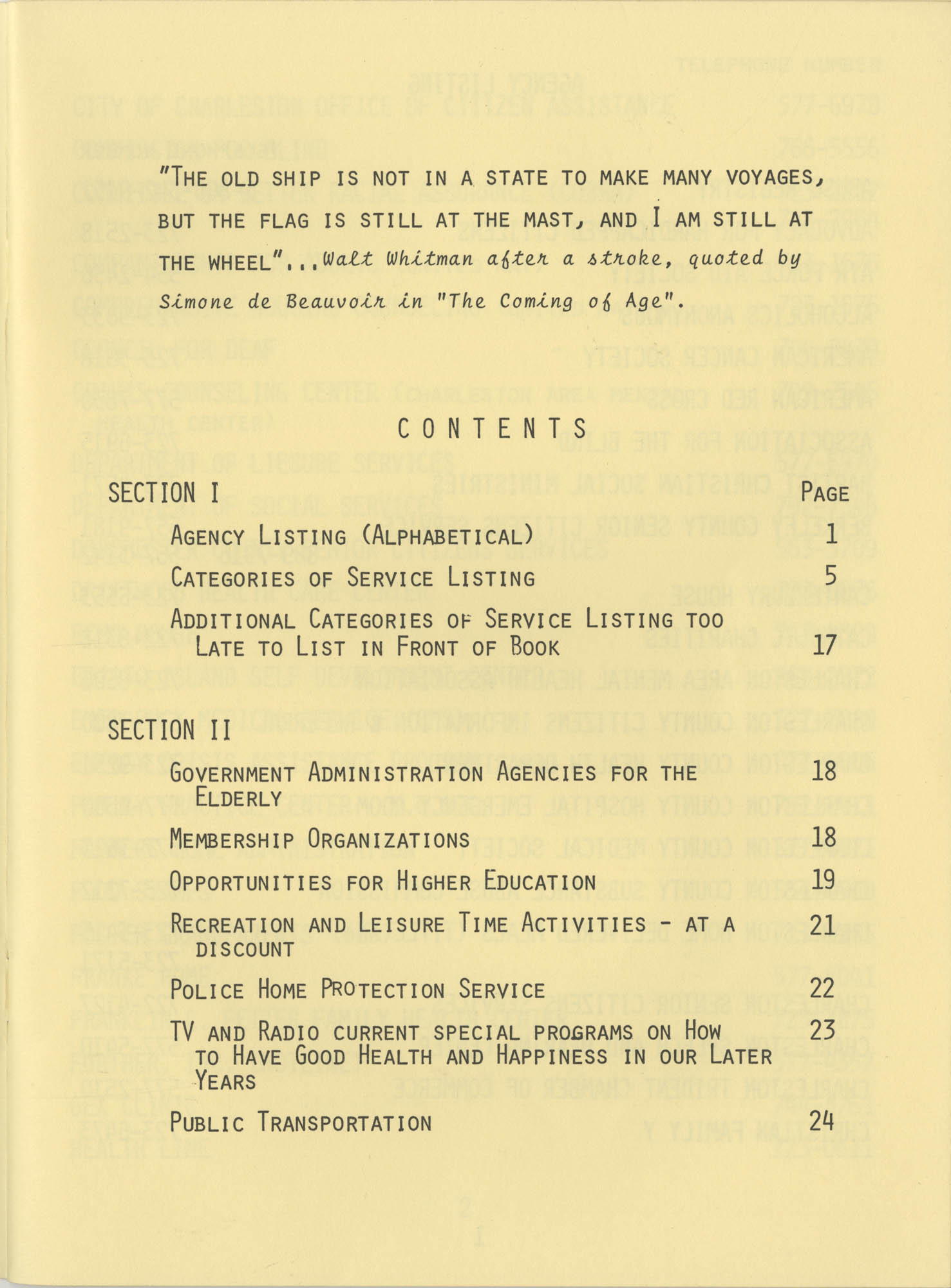 Telephone Line to Care for the Elderly, Table of Contents