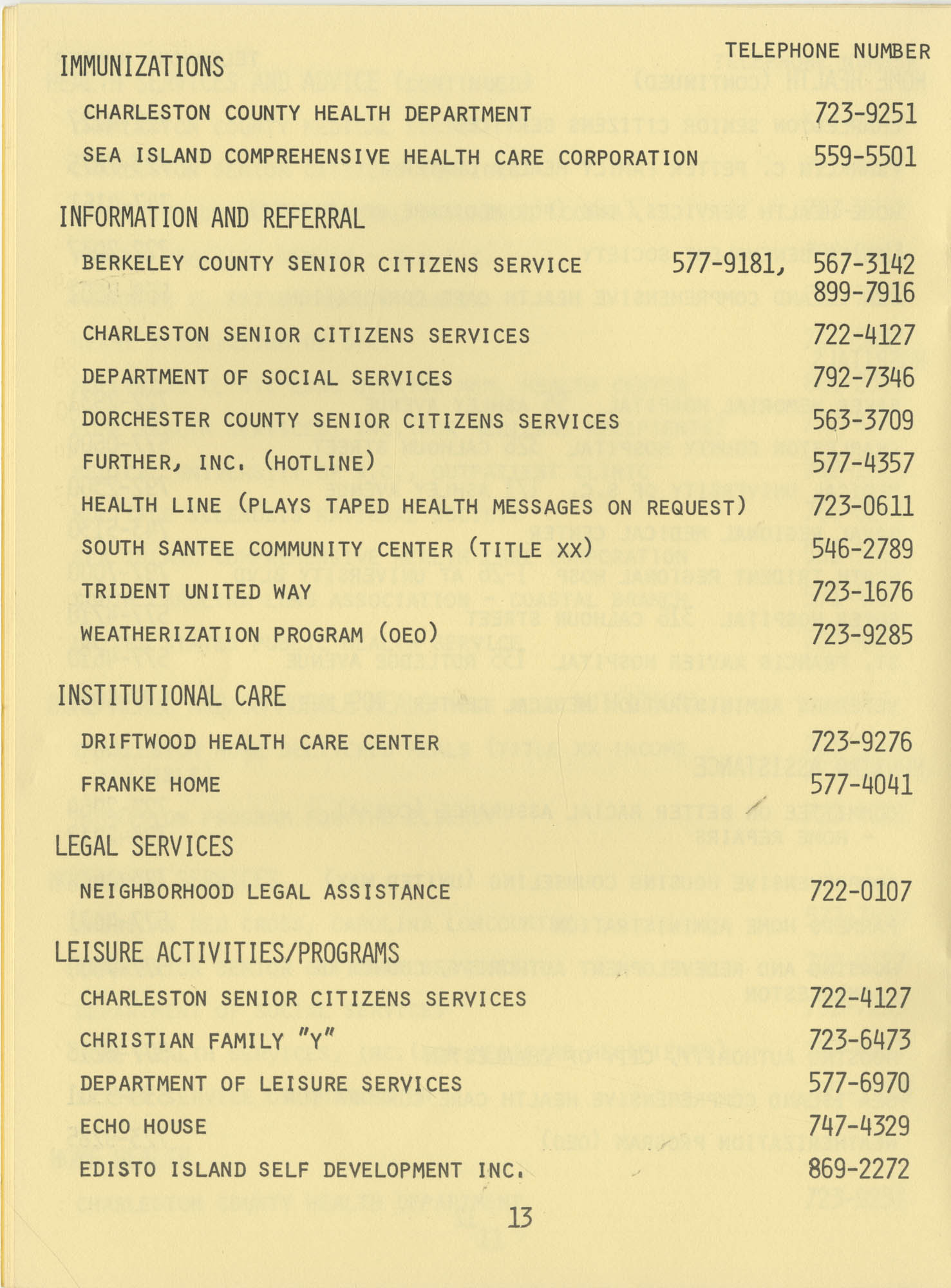 Telephone Line to Care for the Elderly, Page 13