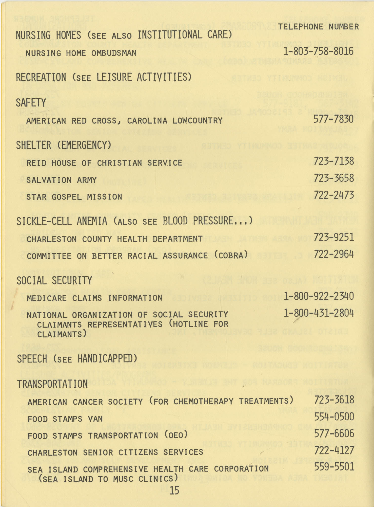 Telephone Line to Care for the Elderly, Page 15