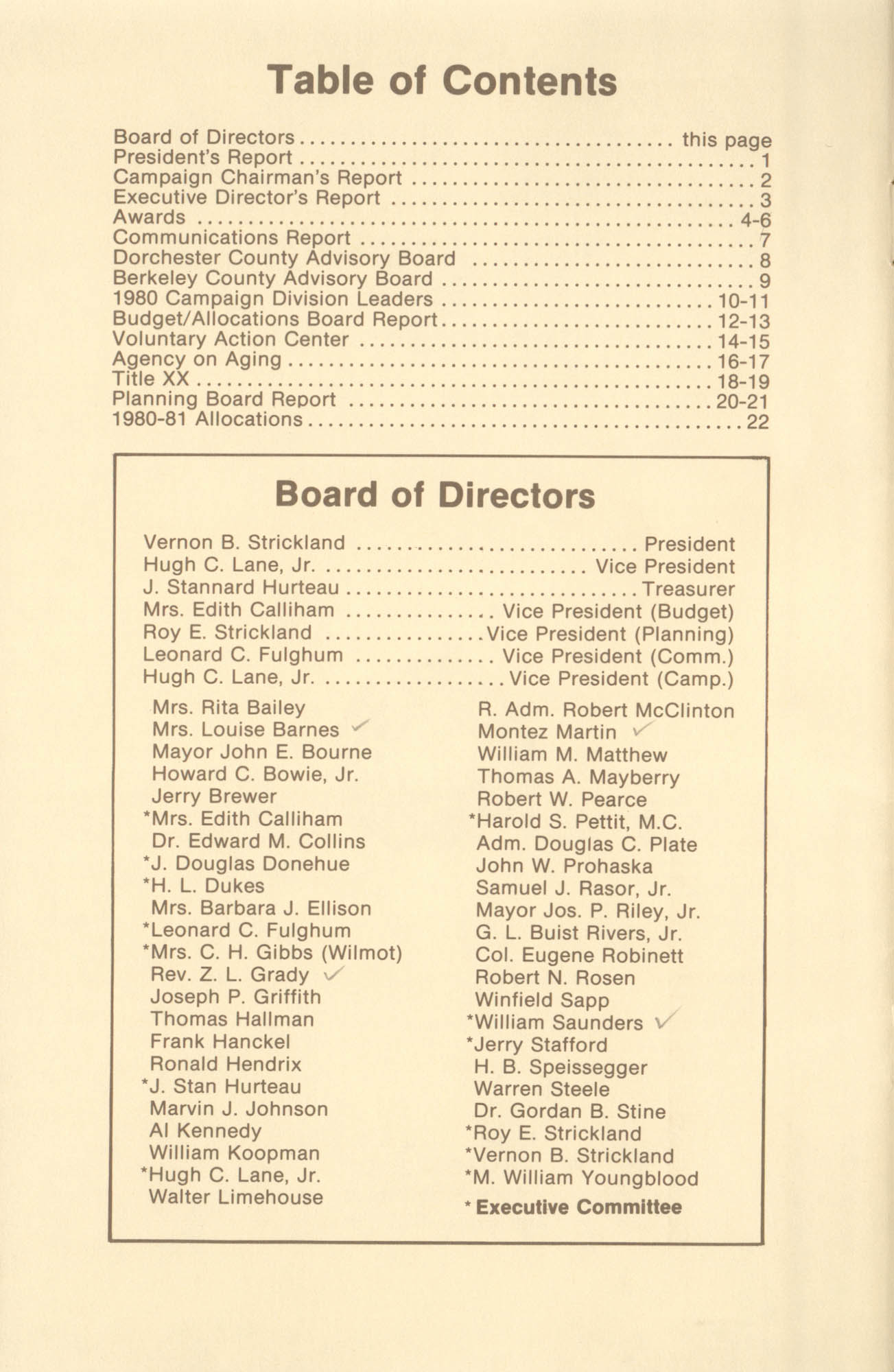 Trident United Way Annual Report, 1980, Table of Contents