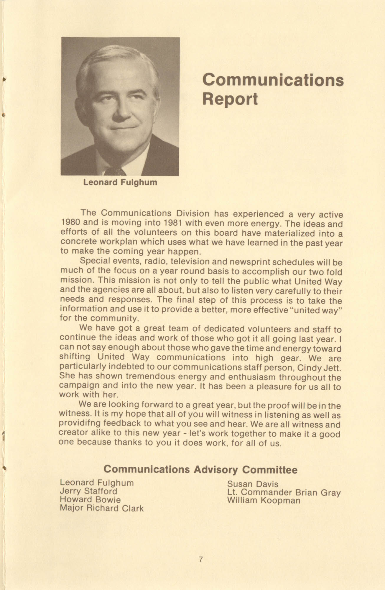 Trident United Way Annual Report, 1980, Page 7
