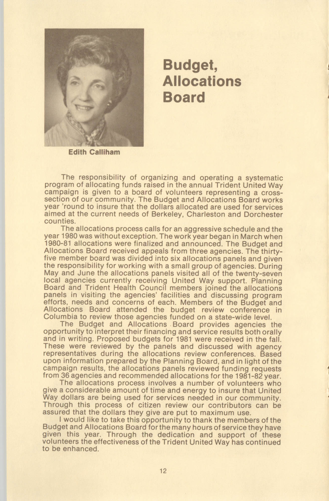 Trident United Way Annual Report, 1980, Page 12