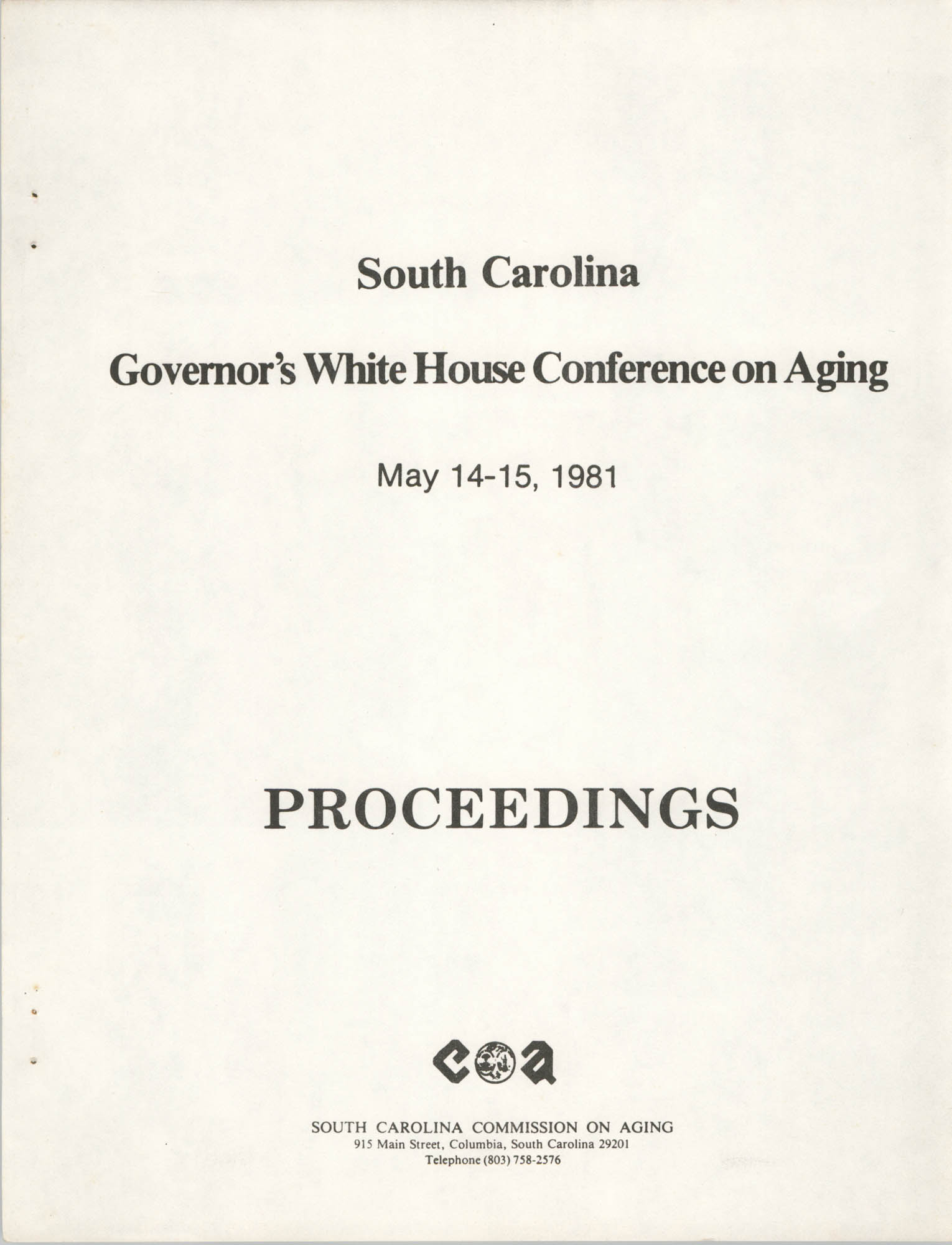 South Carolina Governor's White House Conference on Aging Proceedings, 1981, Title Page