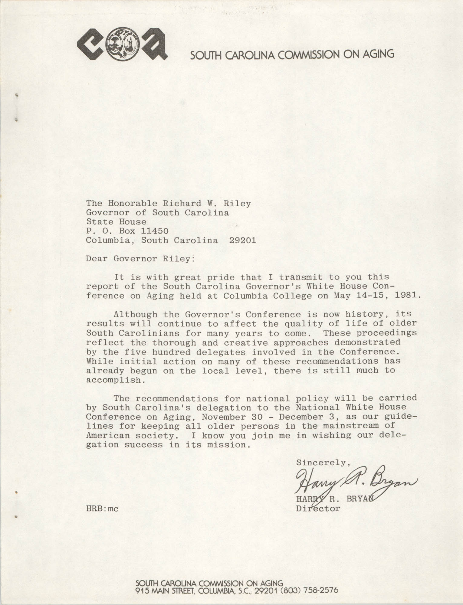 South Carolina Governor's White House Conference on Aging Proceedings, 1981, Cover Letter