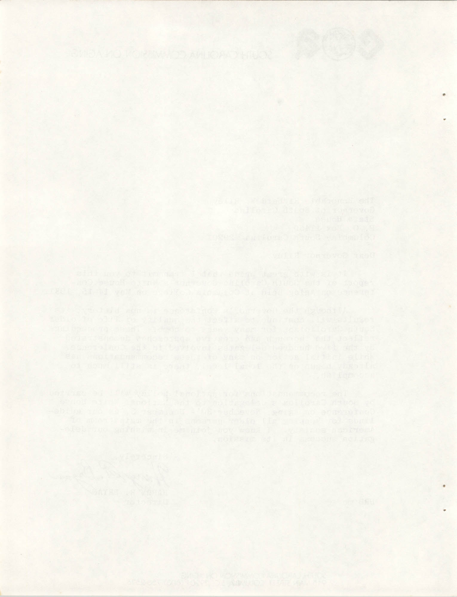 South Carolina Governor's White House Conference on Aging Proceedings, 1981, Blank