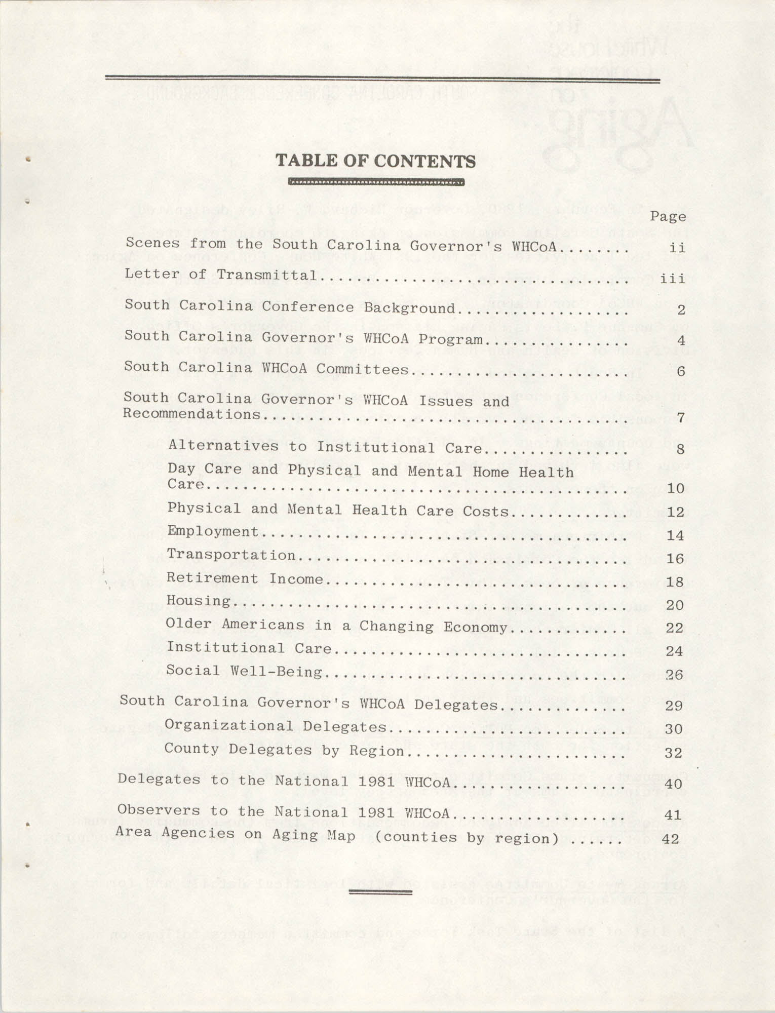 South Carolina Governor's White House Conference on Aging Proceedings, 1981, Table of Contents