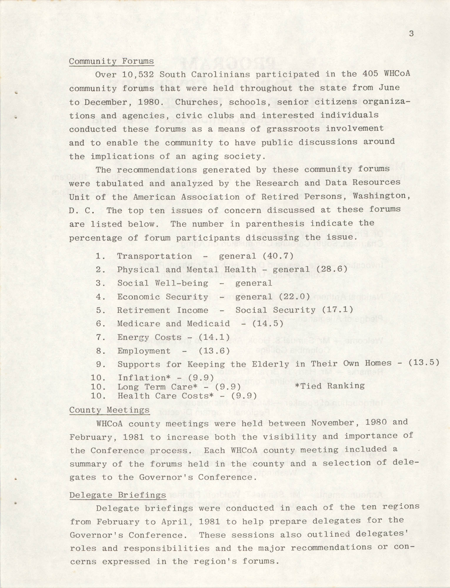 South Carolina Governor's White House Conference on Aging Proceedings, 1981, Page 3