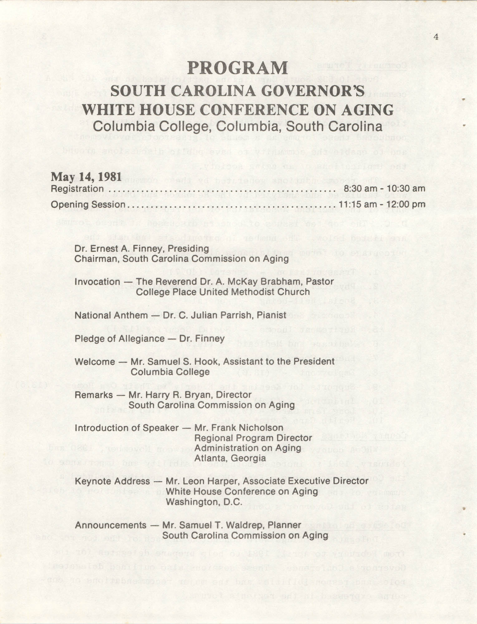 South Carolina Governor's White House Conference on Aging Proceedings, 1981, Page 4