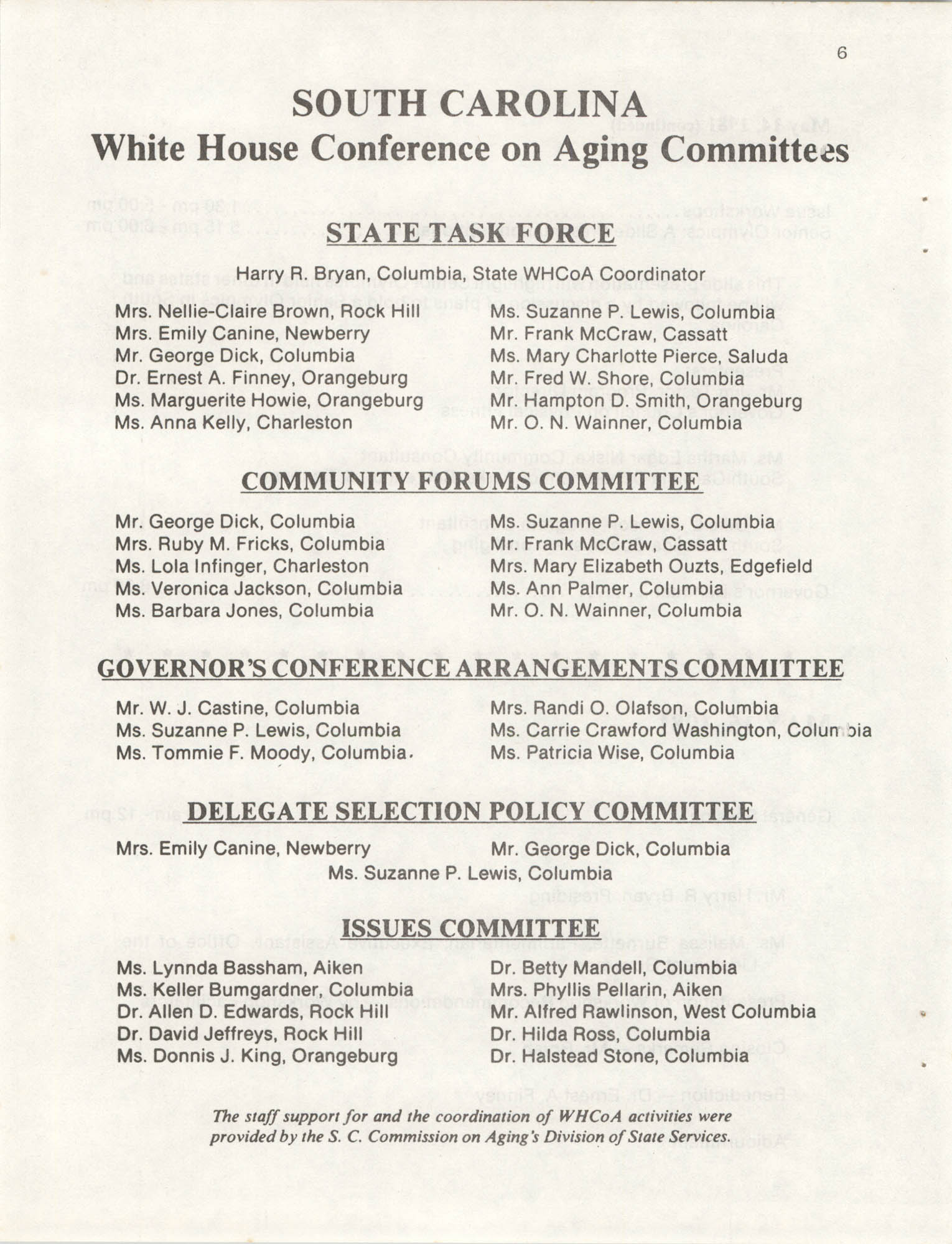 South Carolina Governor's White House Conference on Aging Proceedings, 1981, Page 6