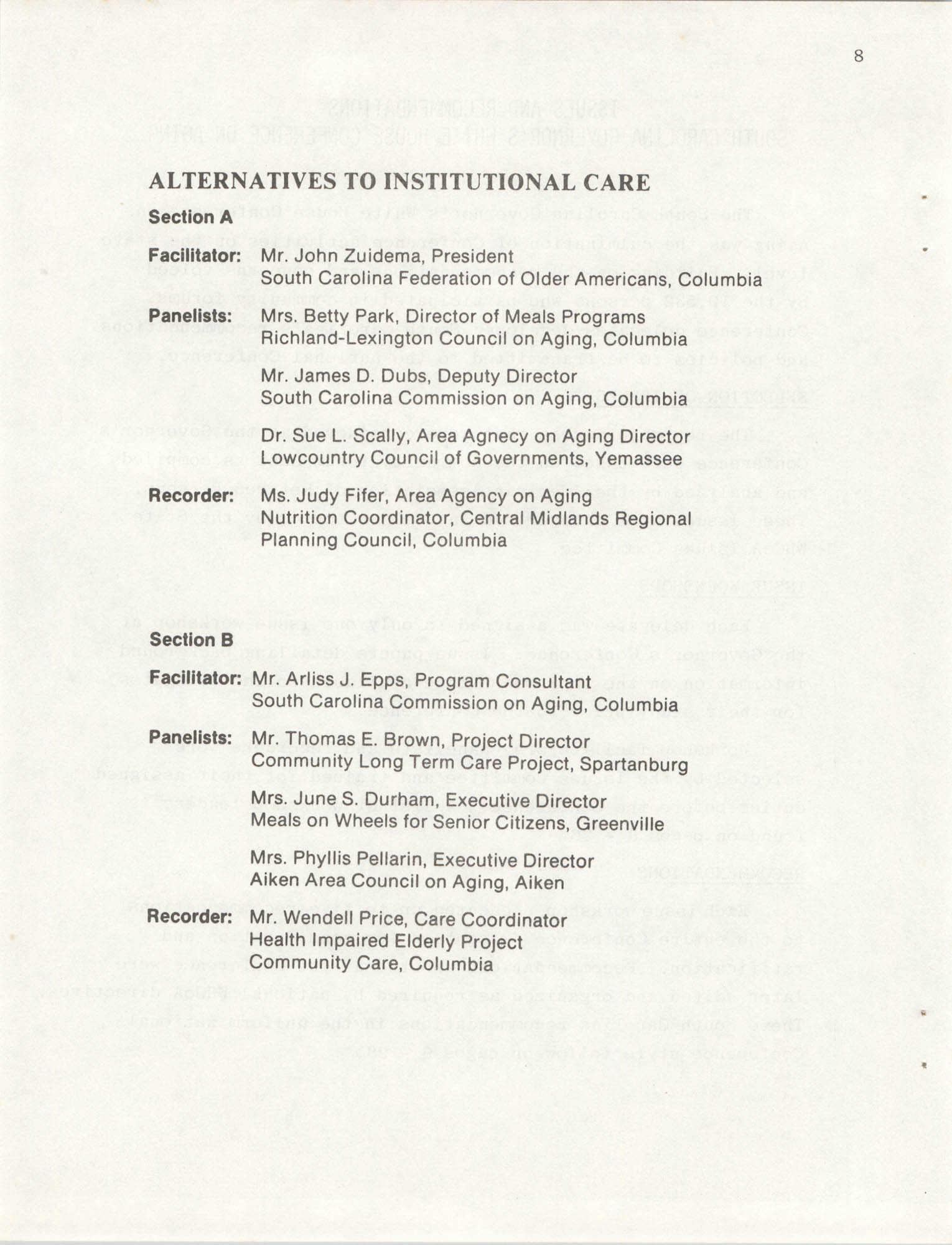 South Carolina Governor's White House Conference on Aging Proceedings, 1981, Page 8