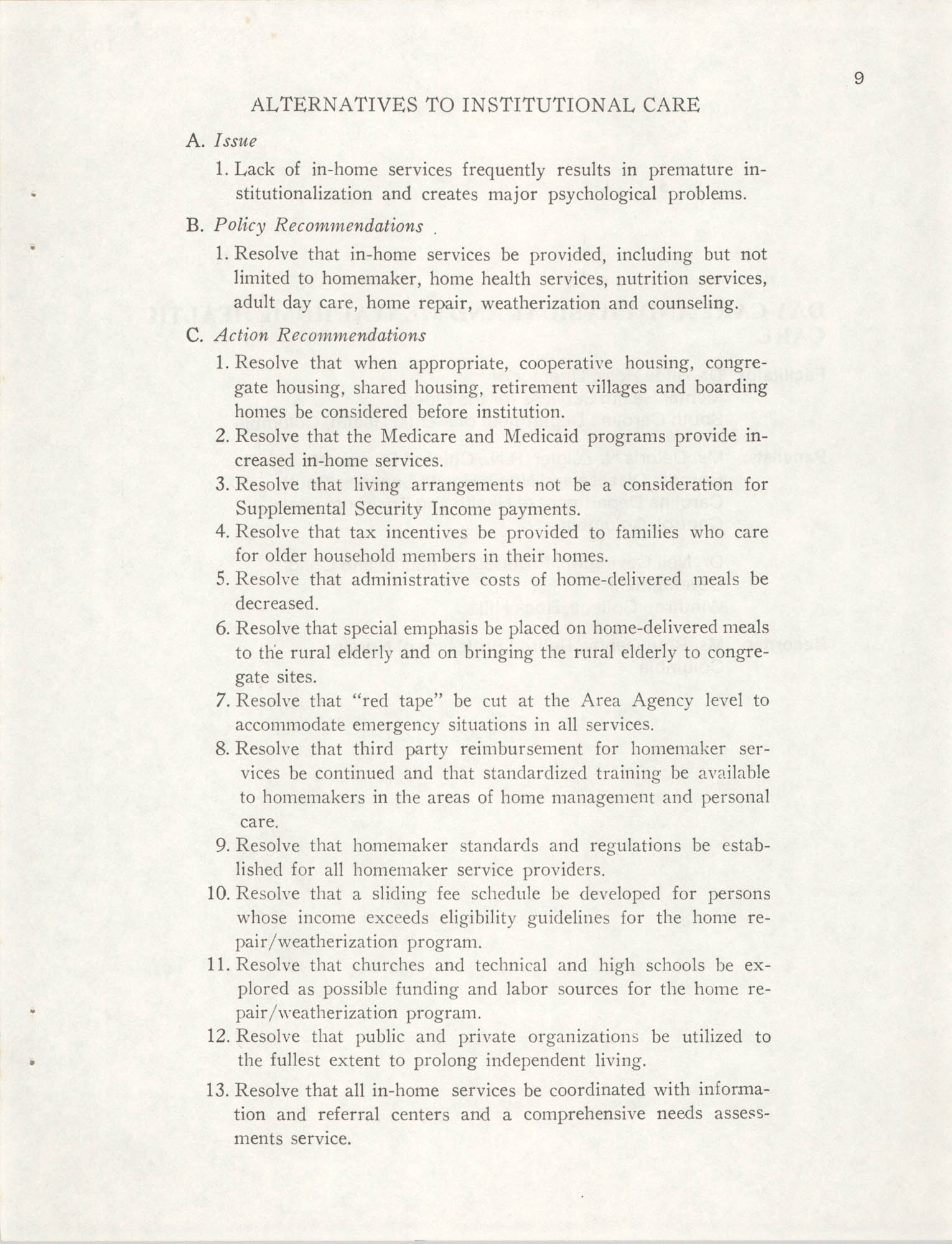 South Carolina Governor's White House Conference on Aging Proceedings, 1981, Page 9