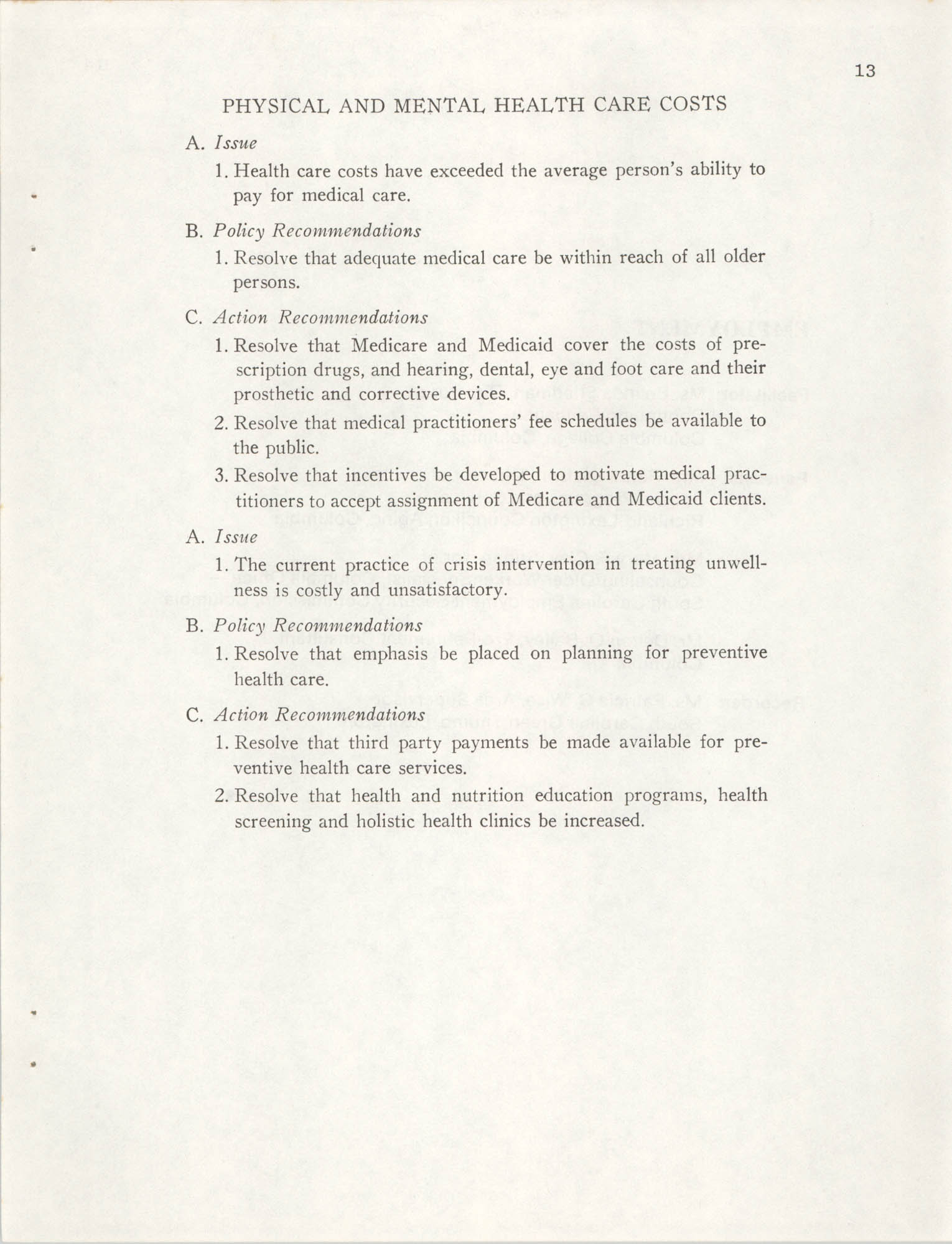 South Carolina Governor's White House Conference on Aging Proceedings, 1981, Page 13