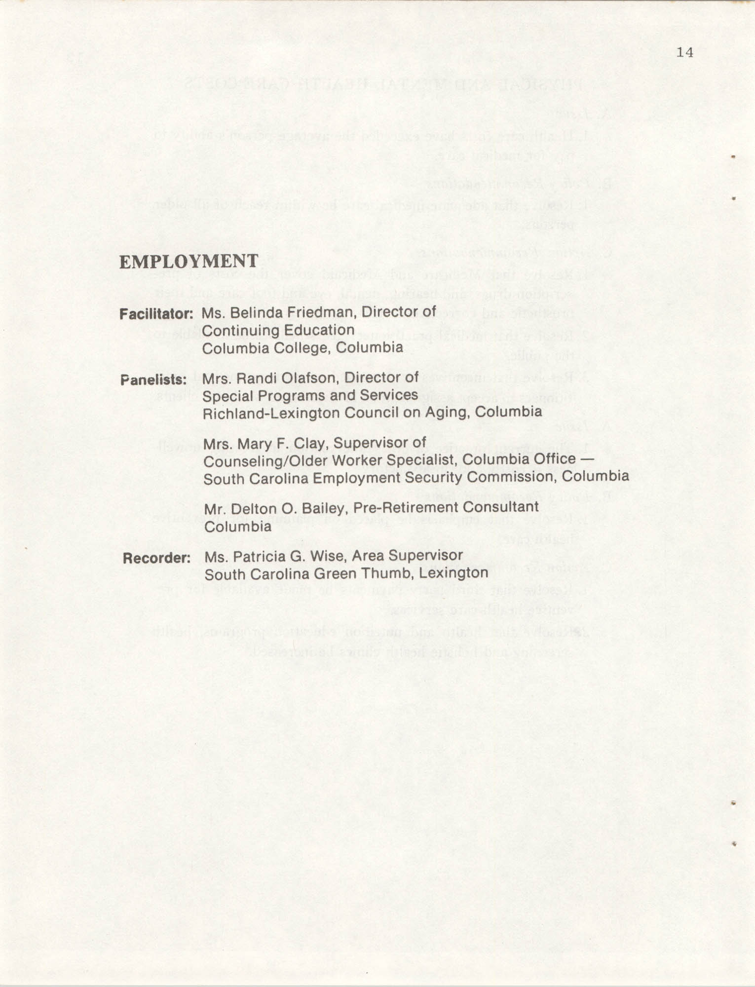 South Carolina Governor's White House Conference on Aging Proceedings, 1981, Page 14
