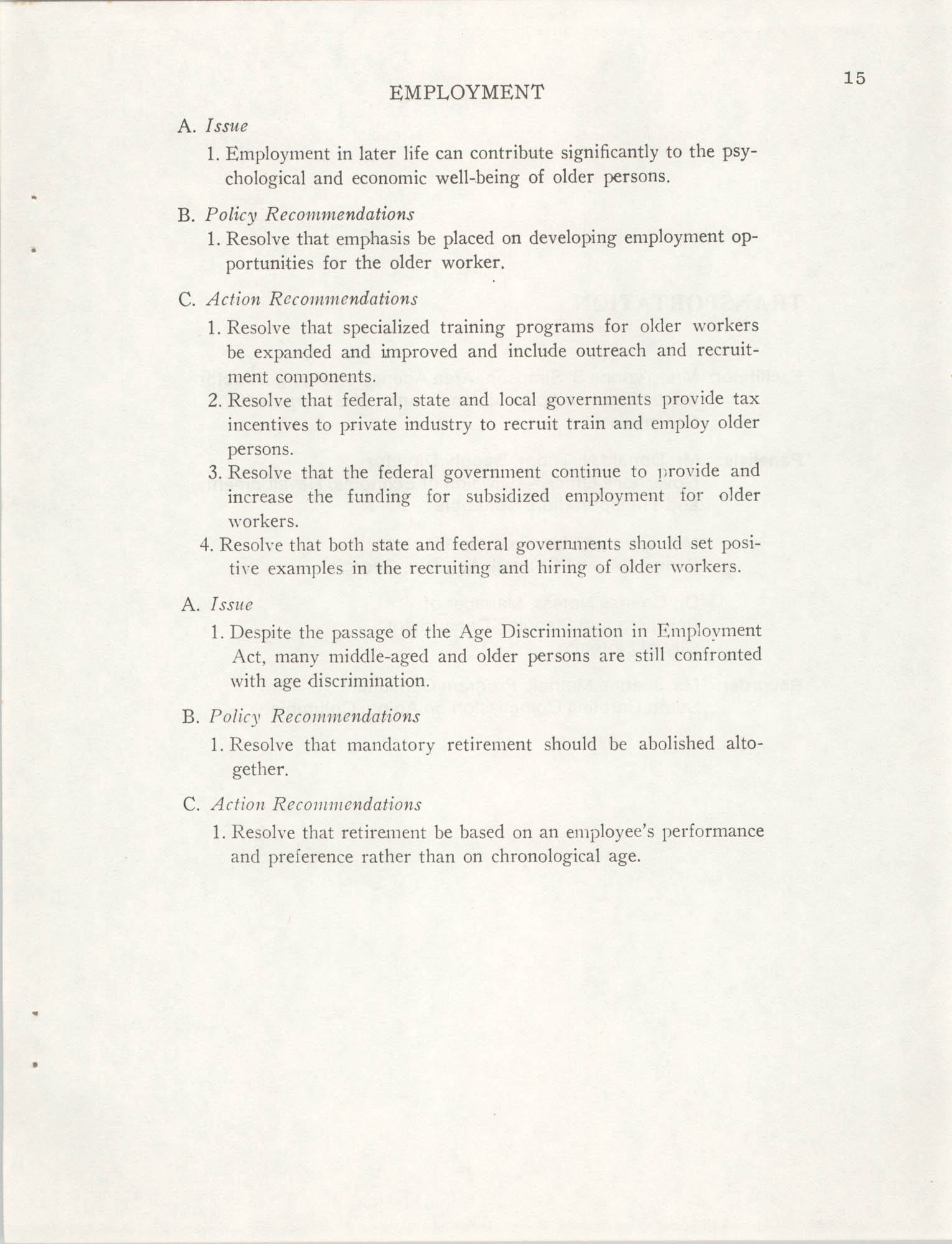 South Carolina Governor's White House Conference on Aging Proceedings, 1981, Page 15