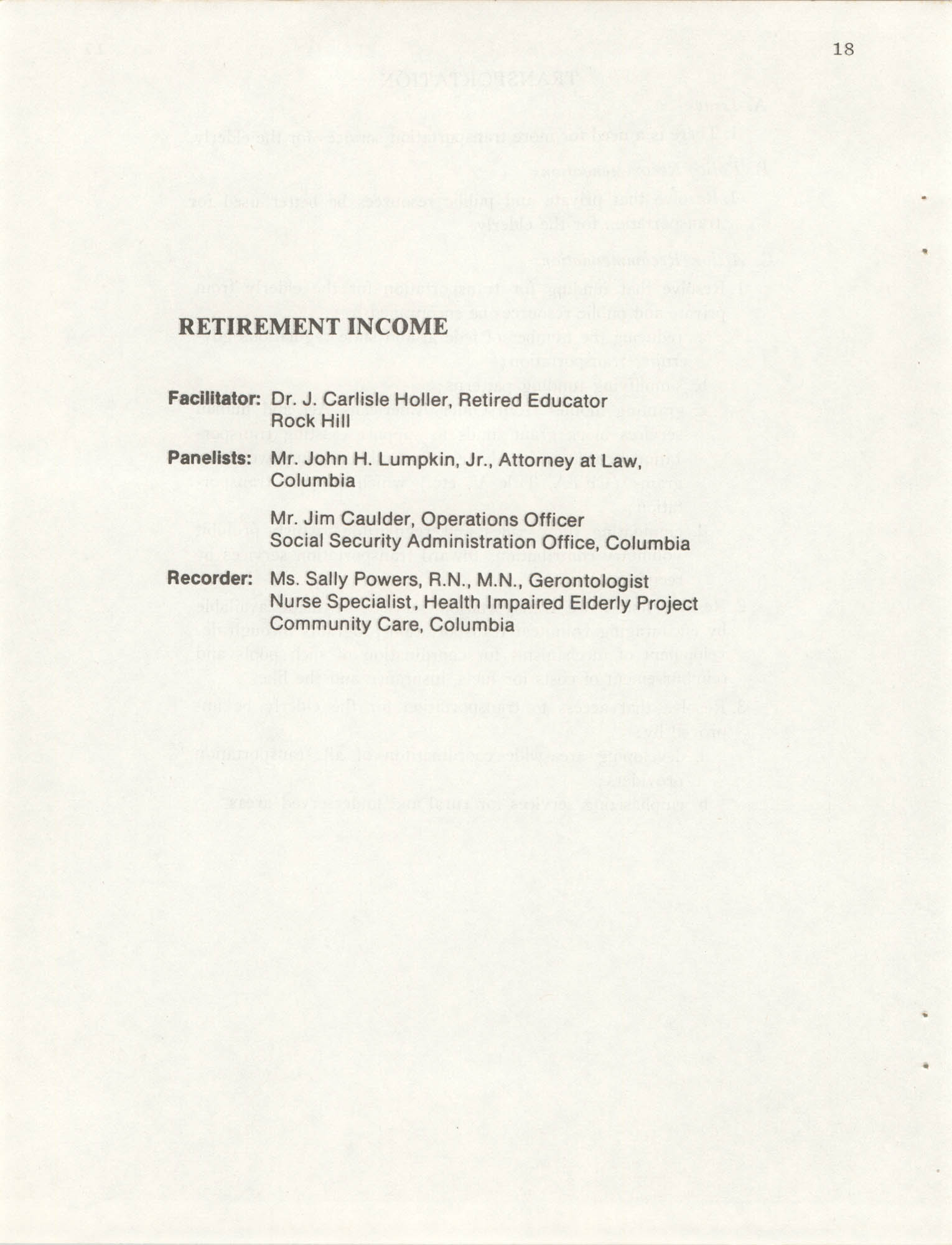 South Carolina Governor's White House Conference on Aging Proceedings, 1981, Page 18