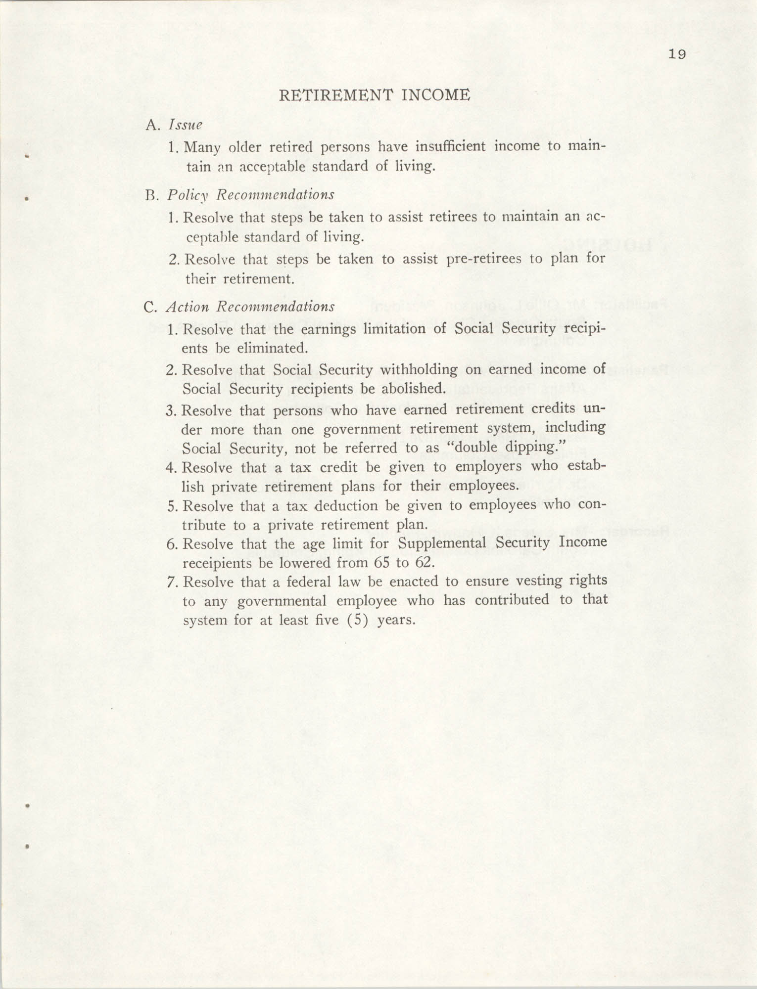 South Carolina Governor's White House Conference on Aging Proceedings, 1981, Page 19