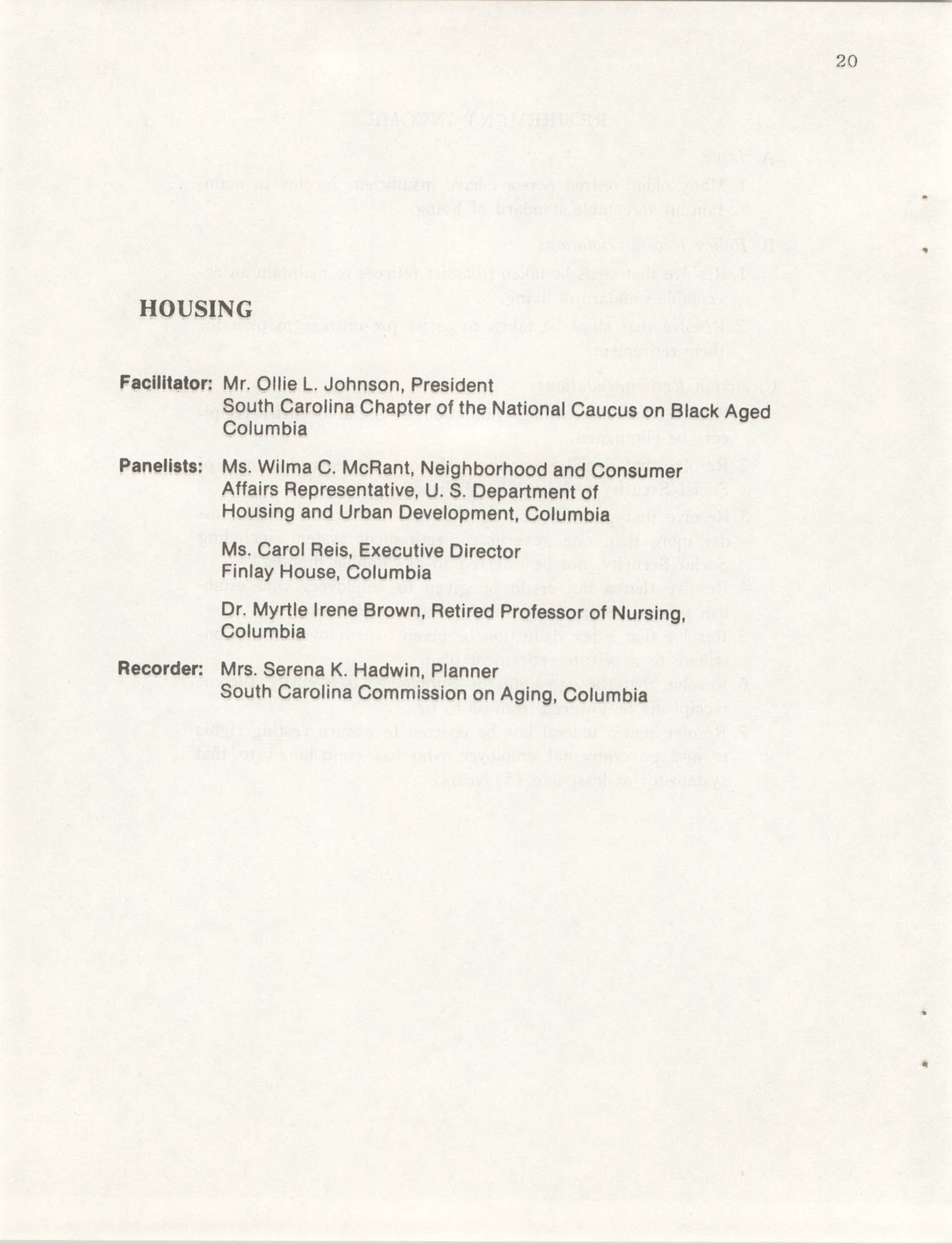 South Carolina Governor's White House Conference on Aging Proceedings, 1981, Page 20