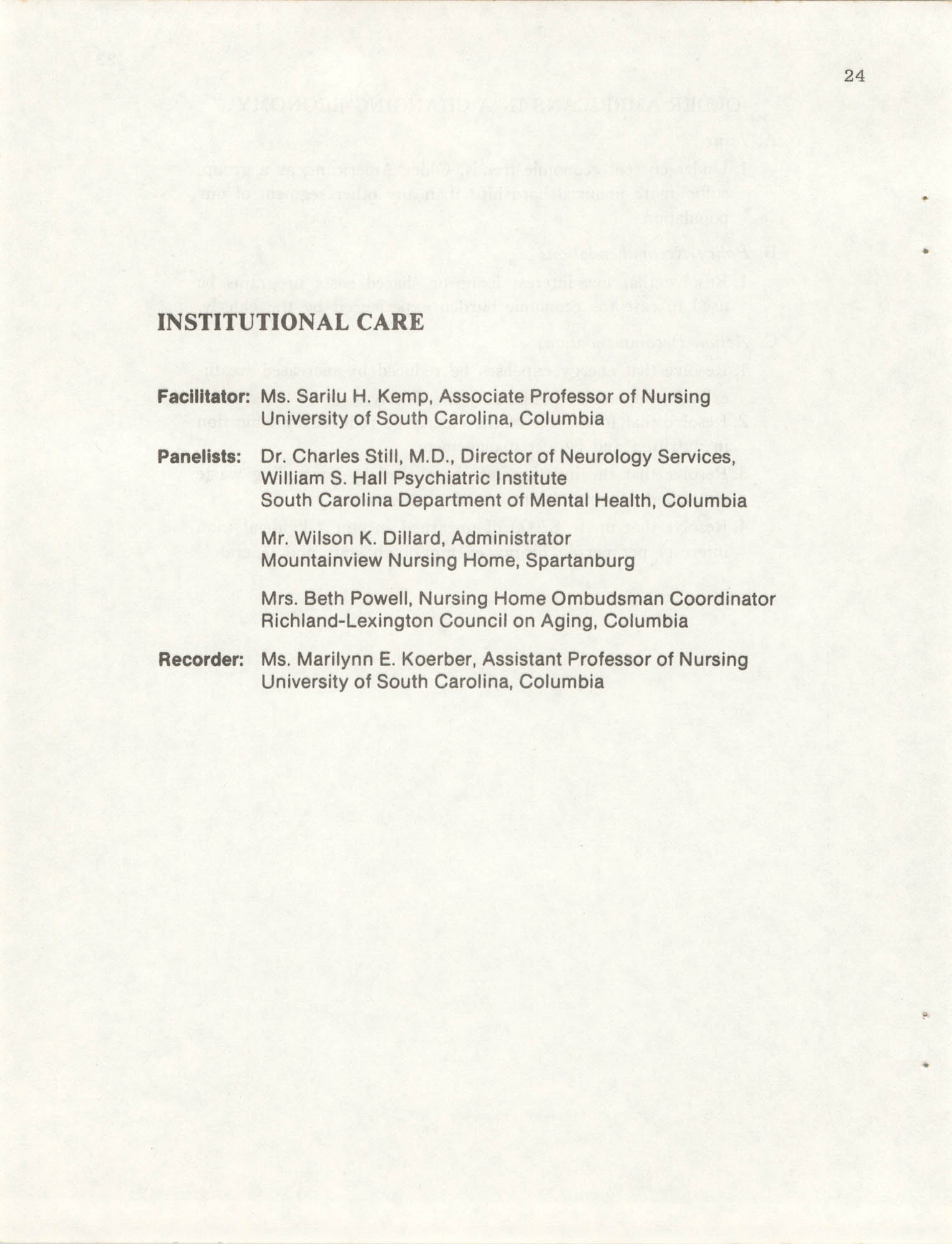 South Carolina Governor's White House Conference on Aging Proceedings, 1981, Page 24