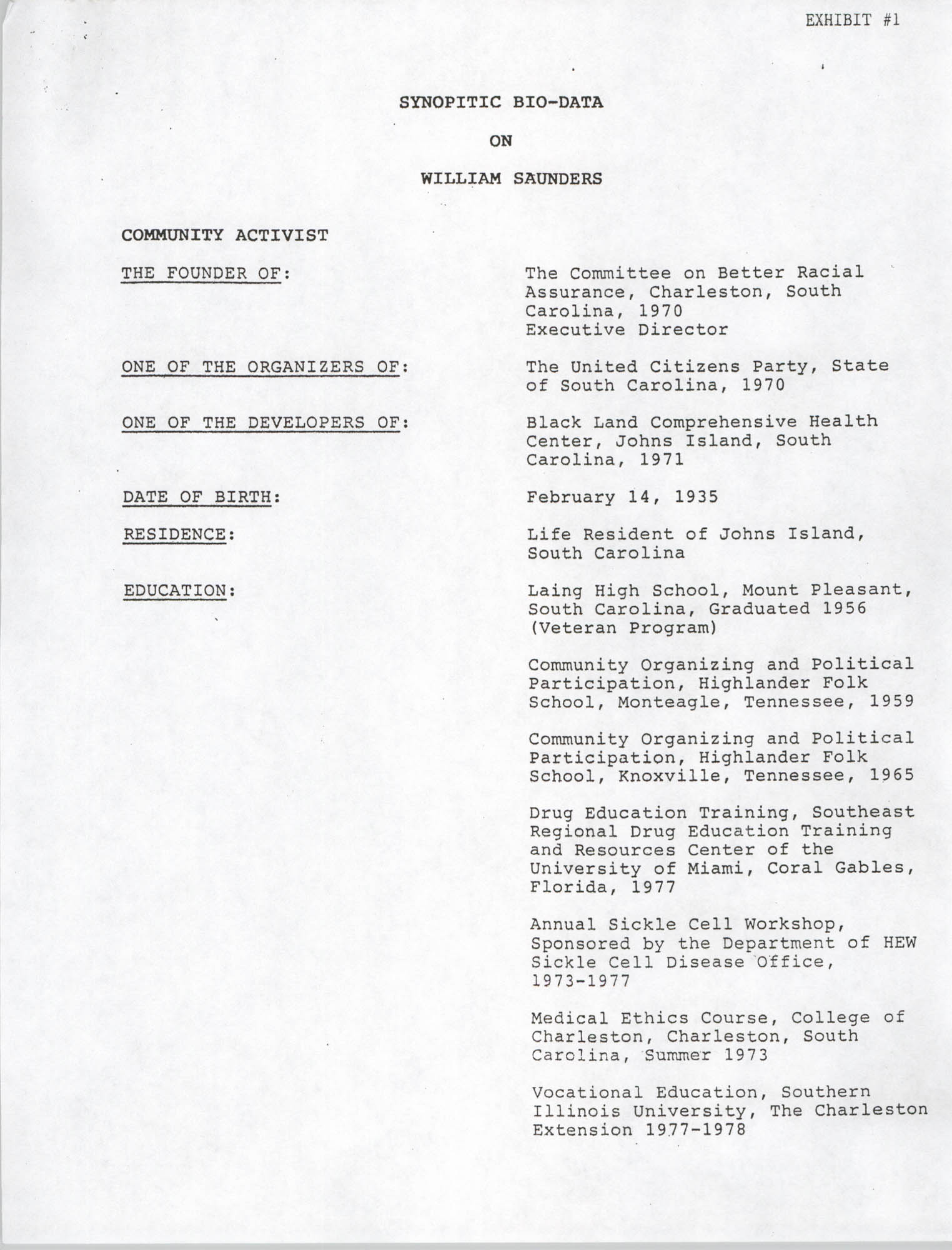 Synopitic Bio-Data on William Saunders, Page 1