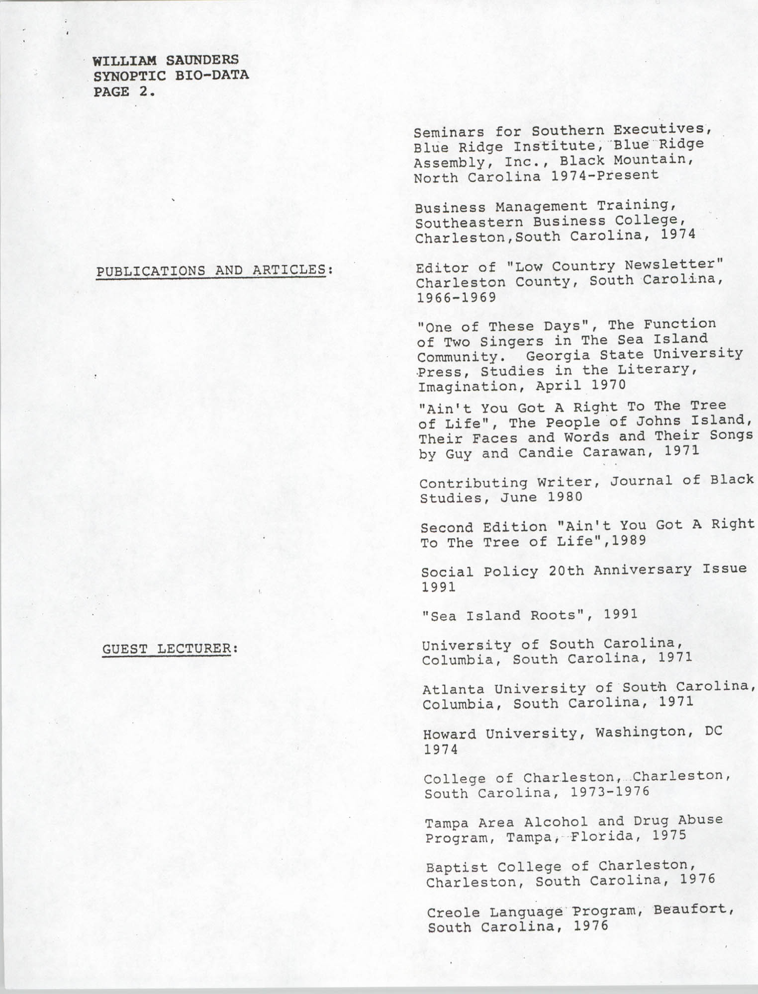 Synopitic Bio-Data on William Saunders, Page 2