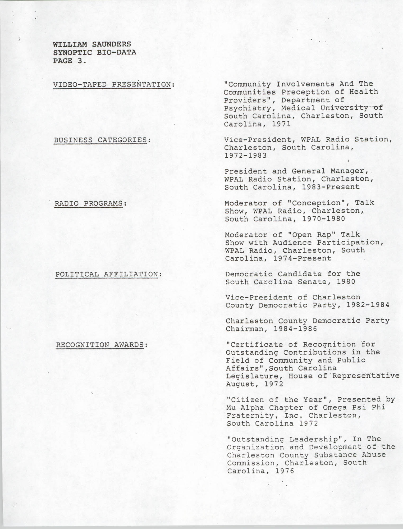 Synopitic Bio-Data on William Saunders, Page 3