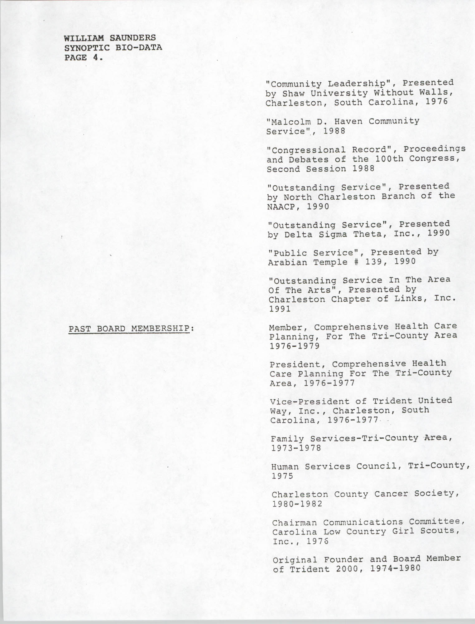 Synopitic Bio-Data on William Saunders, Page 4