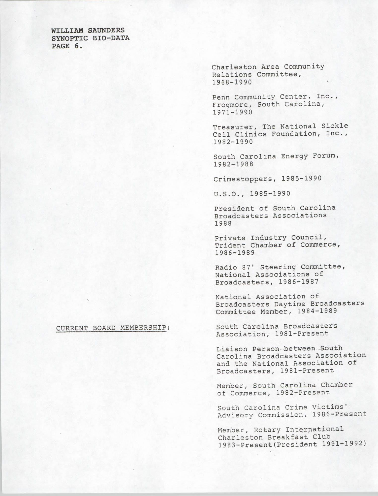 Synopitic Bio-Data on William Saunders, Page 6