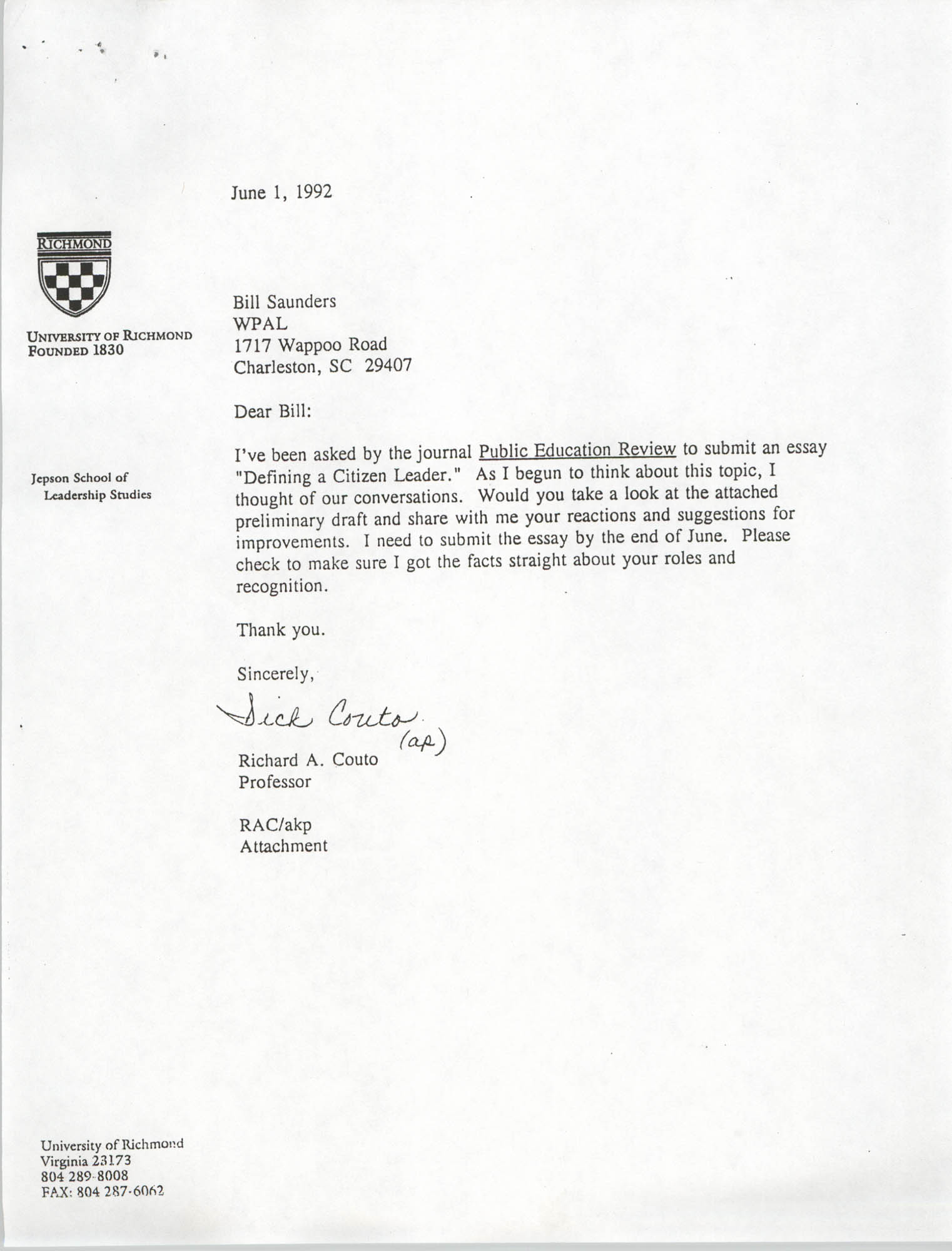 Letter from Richard A. Couto to William Saunders, June 1, 1992