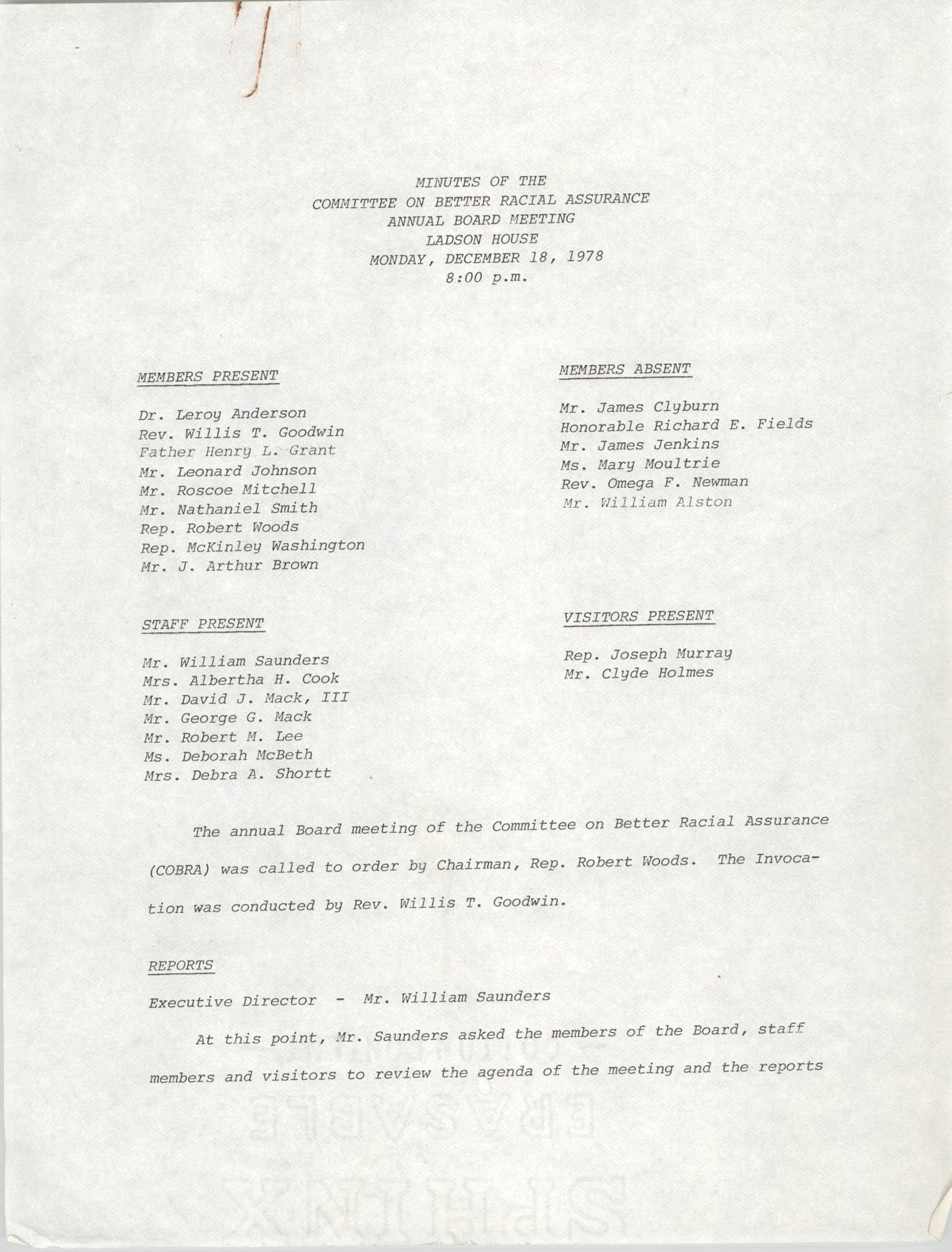 COBRA Annual Board Meeting Minutes, December 18, 1978, Page 1