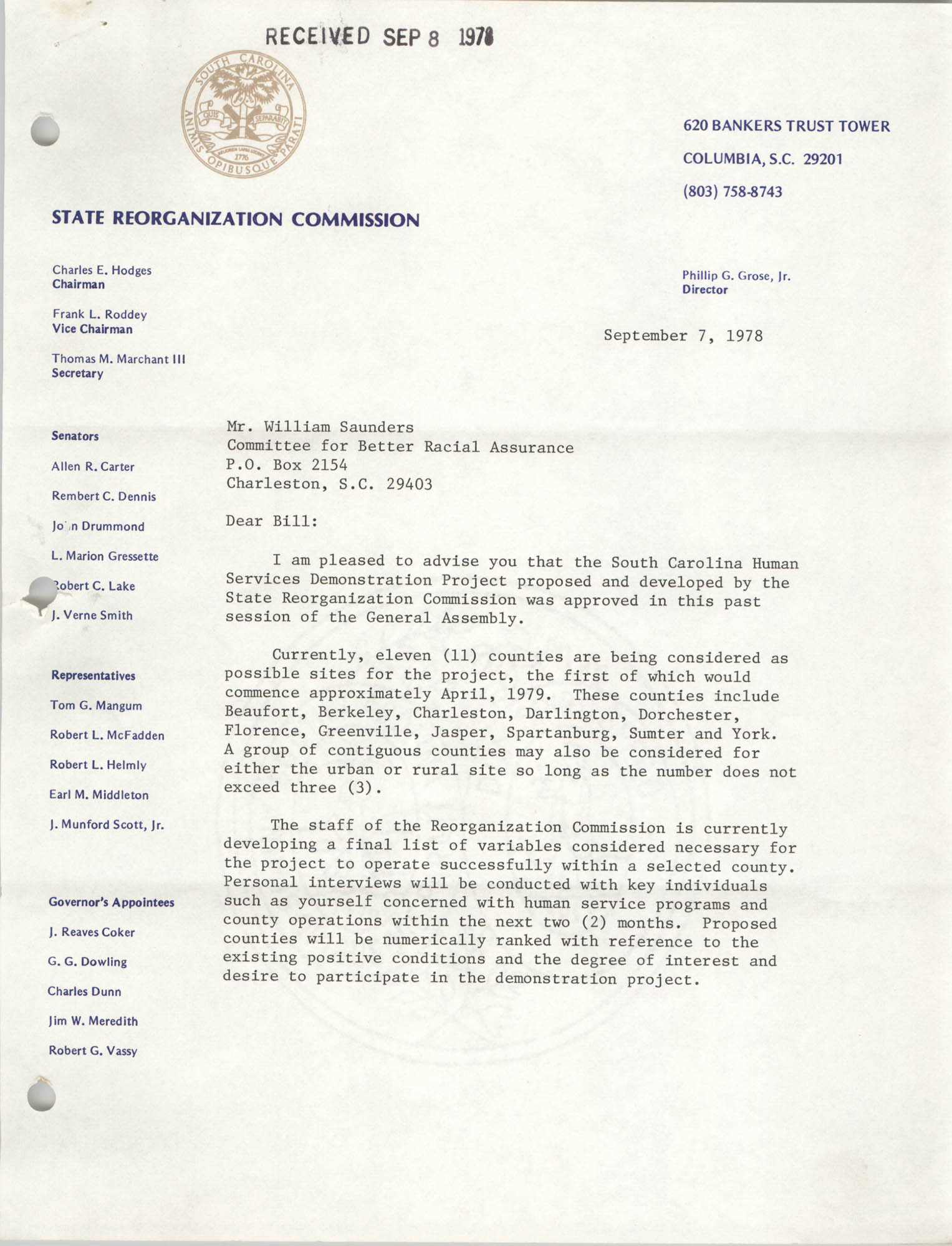 Letter from Allen R. Carter to William Saunders, September 7, 1978, Page 1