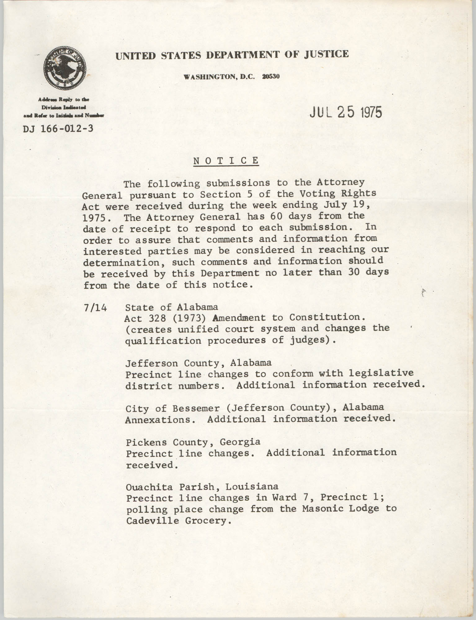 United States Department of Justice Notice, July 25, 1975, Page 1