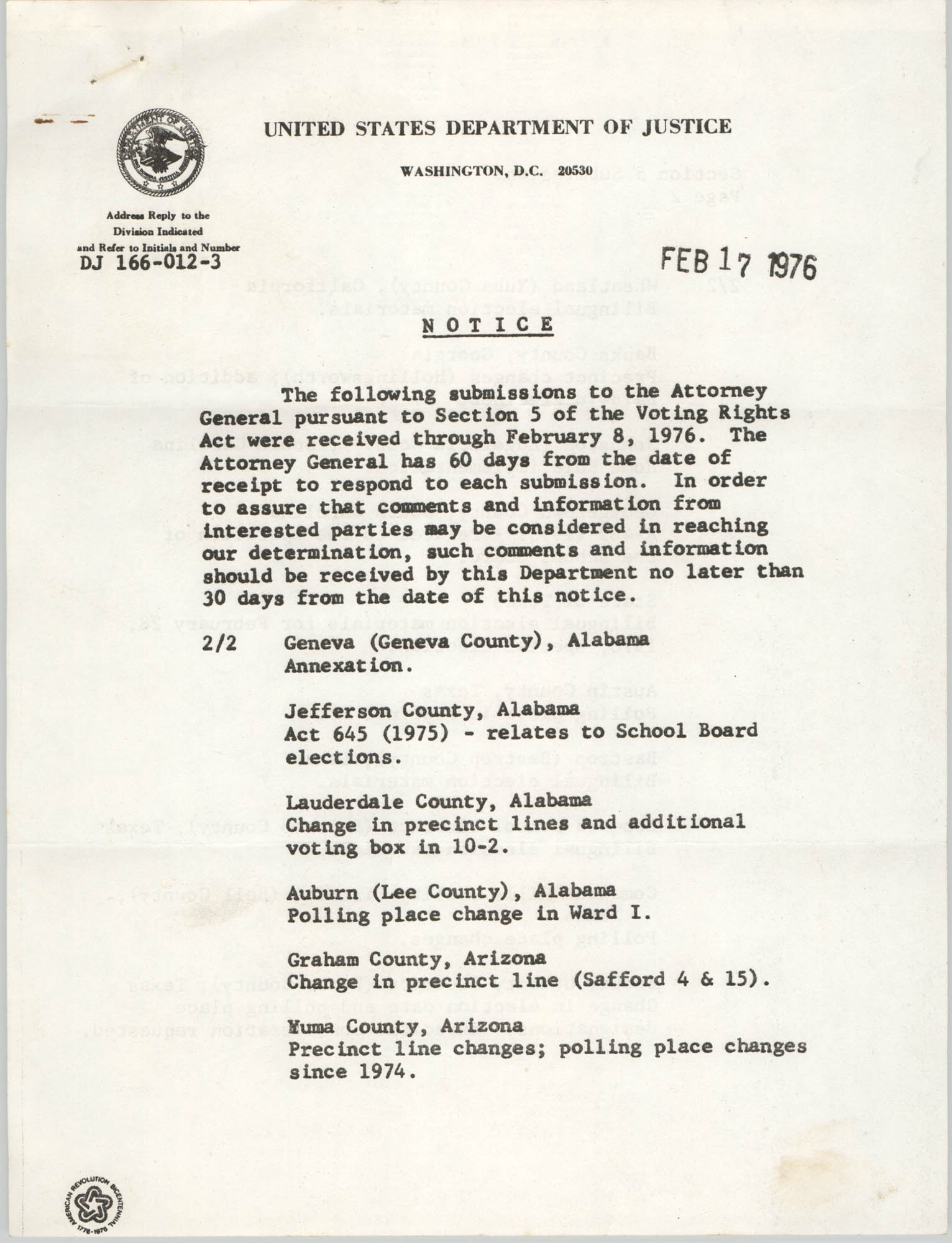 United States Department of Justice Notice, February 17, 1976, Page 1