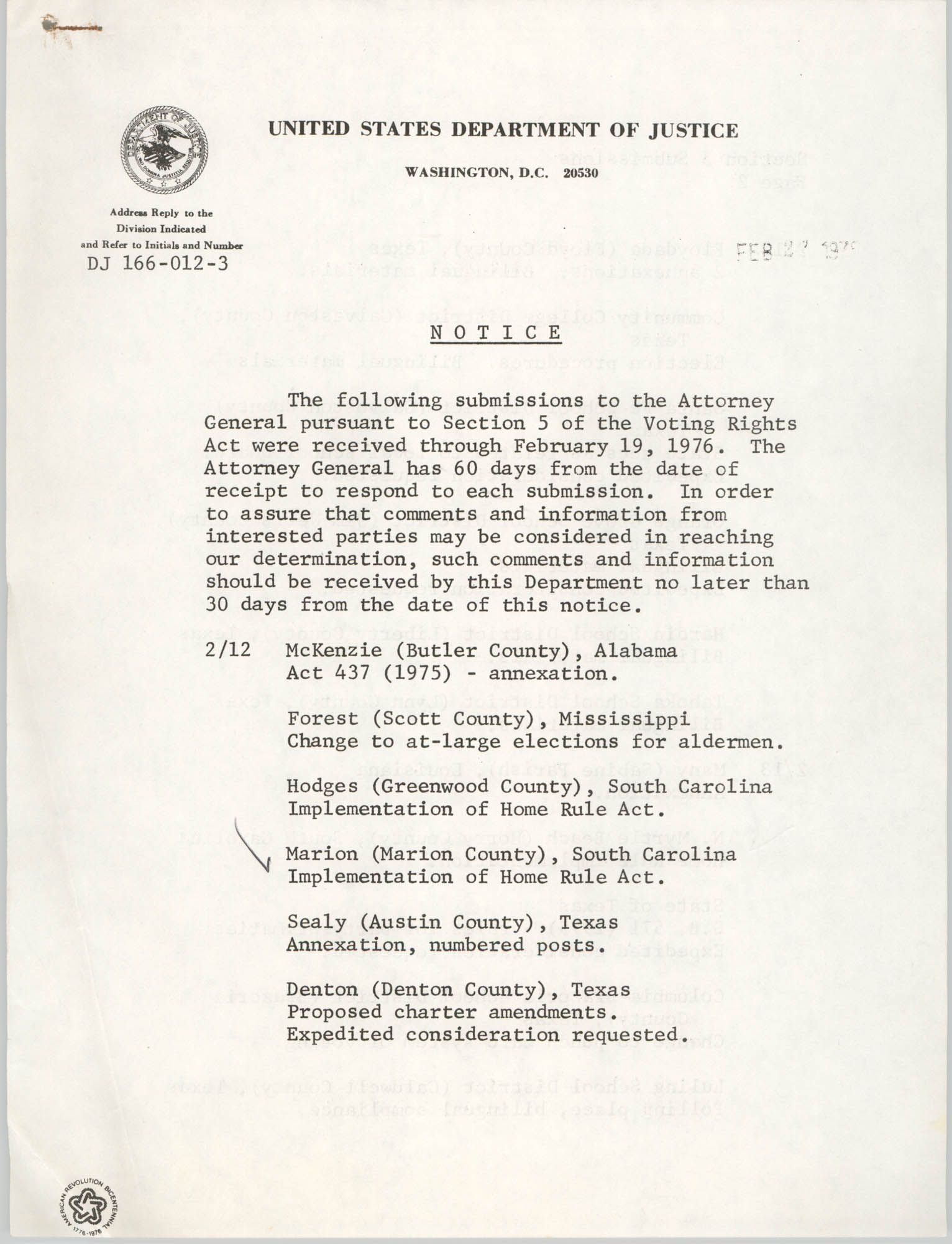 United States Department of Justice Notice, February 27, 1976, Page 1