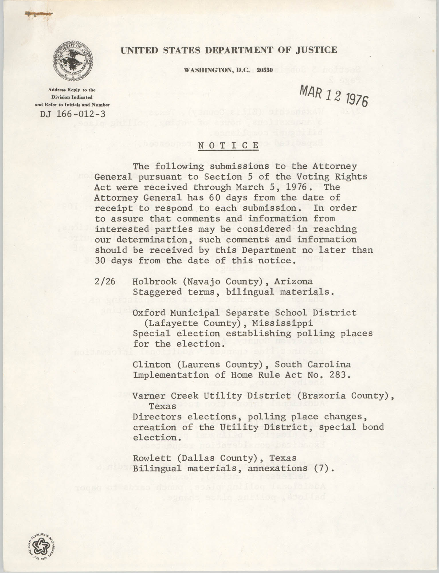 United States Department of Justice Notice, March 12, 1976, Page 1