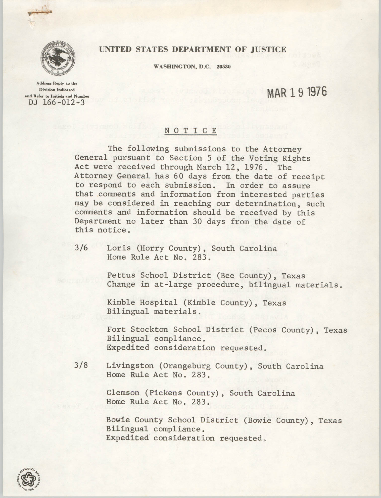 United States Department of Justice Notice, March 19, 1976, Page 1