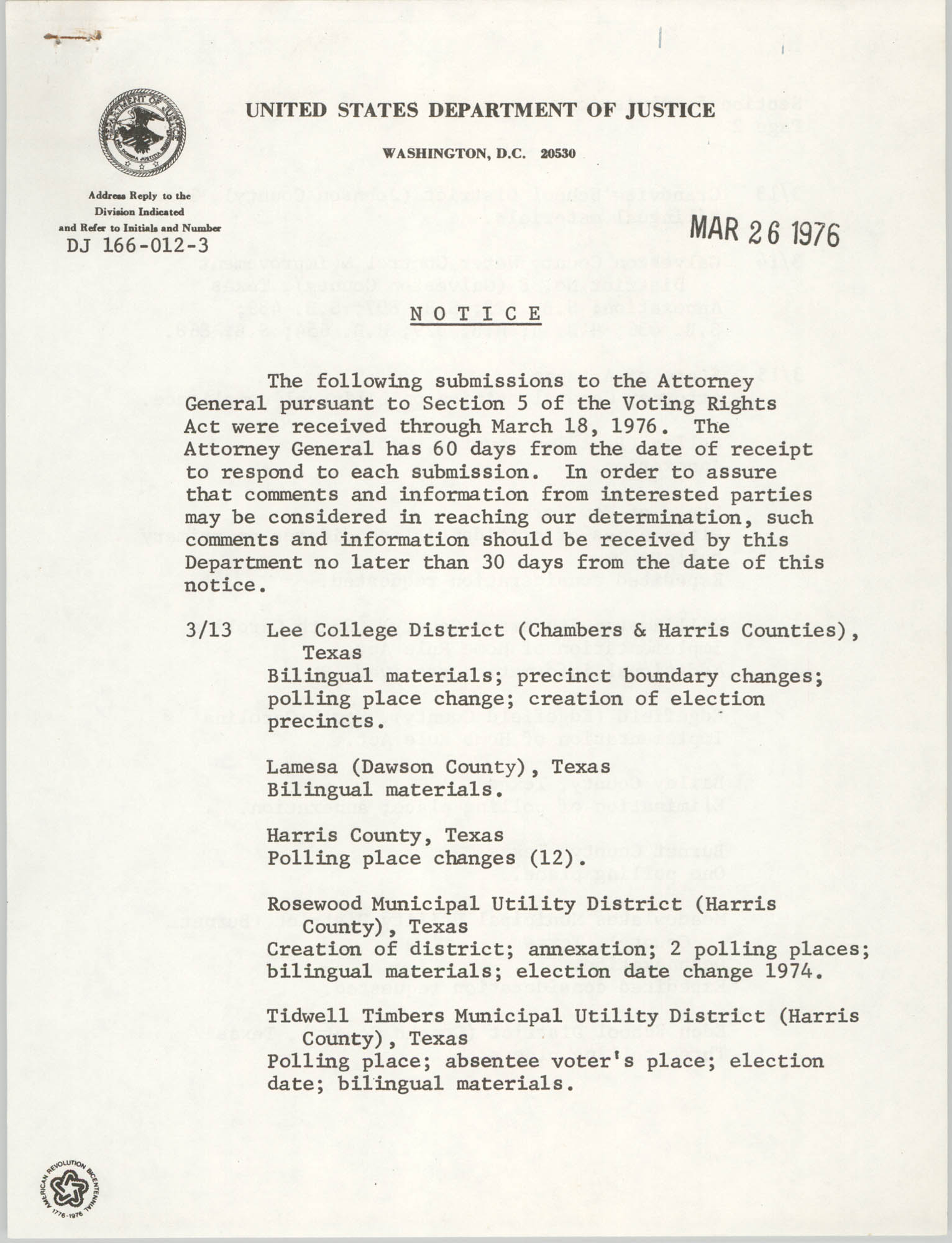 United States Department of Justice Notice, March 26, 1976, Page 1