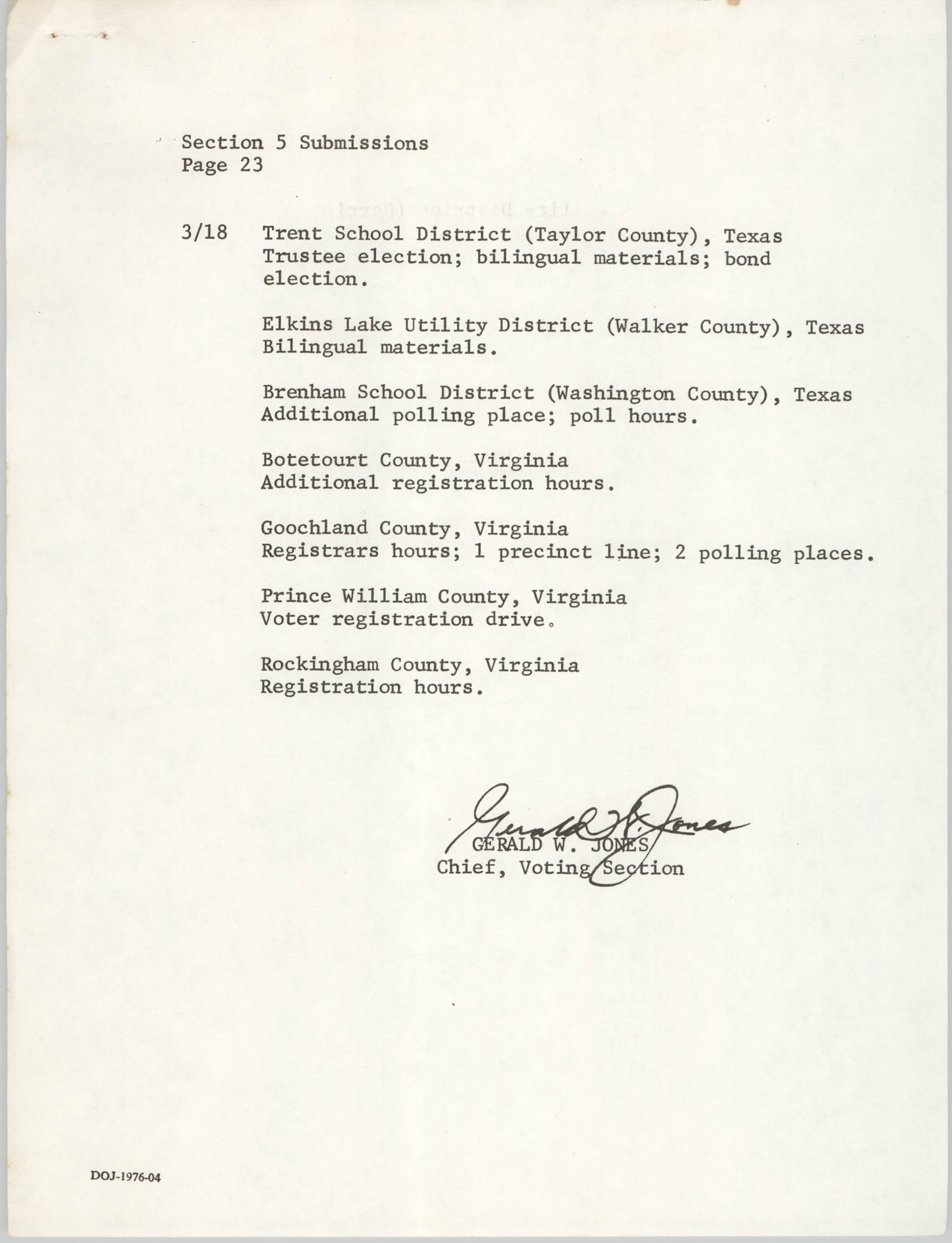 United States Department of Justice Notice, March 26, 1976, Page 23