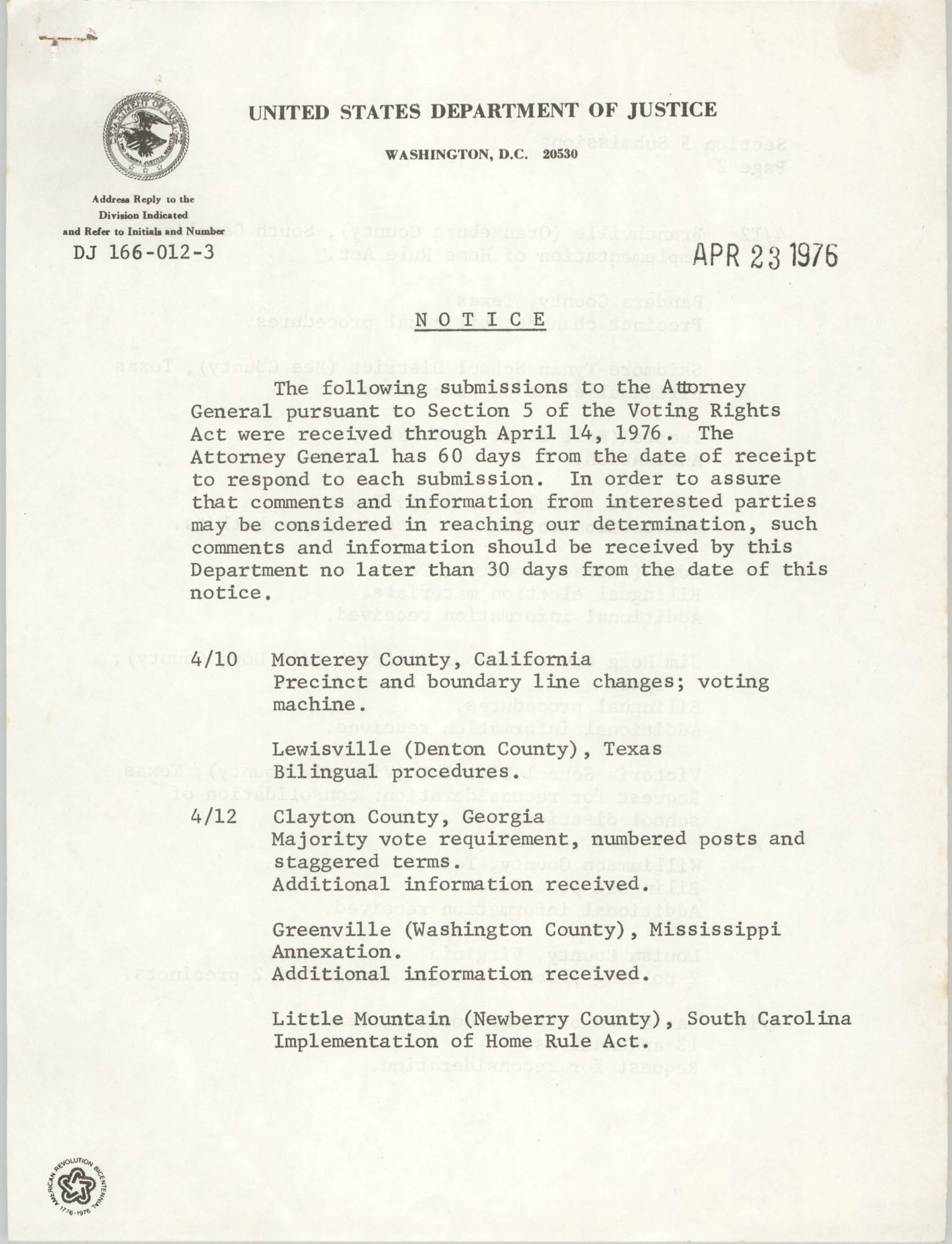 United States Department of Justice Notice, April 23, 1976, Page 1