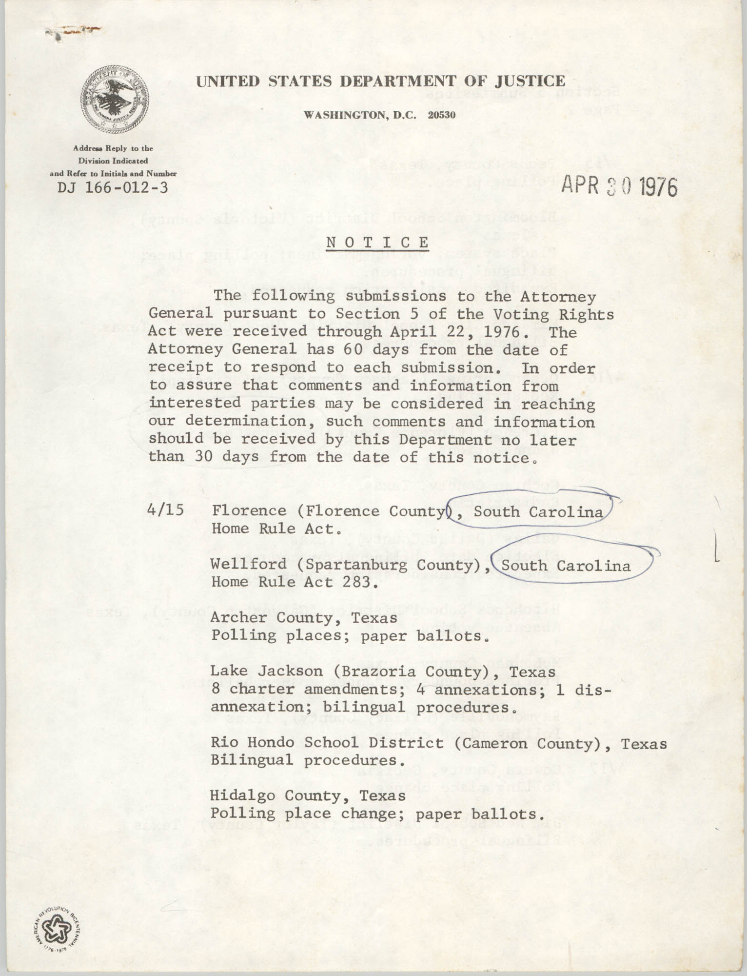 United States Department of Justice Notice, April 30, 1976, Page 1
