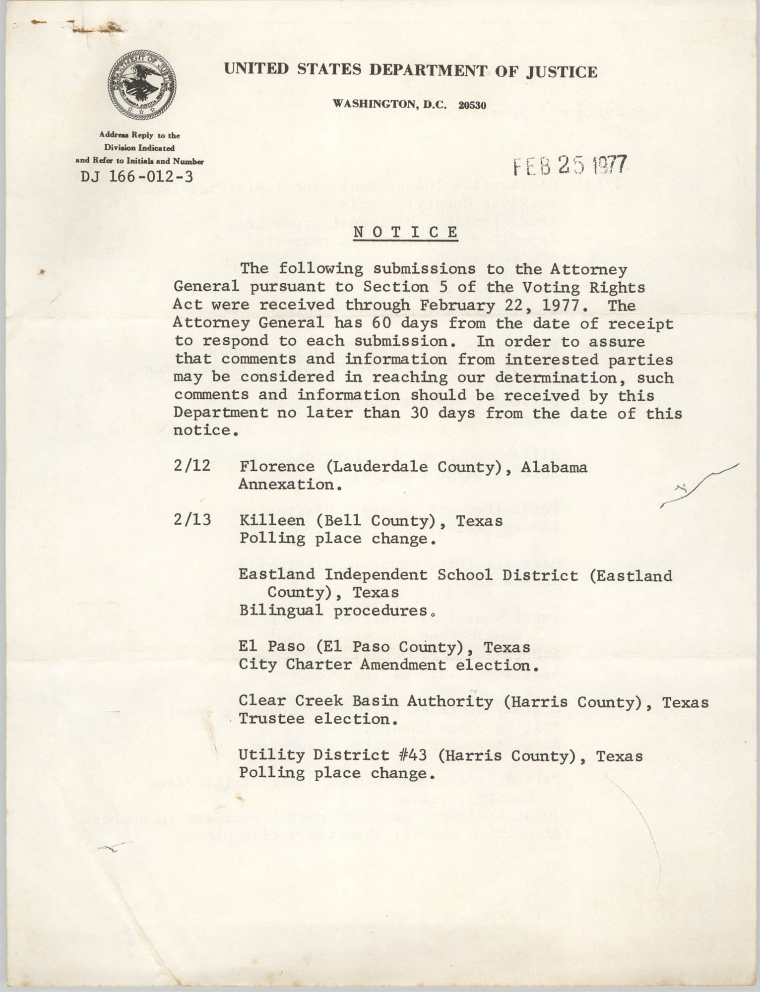 United States Department of Justice Notice, February 25, 1977, Page 1