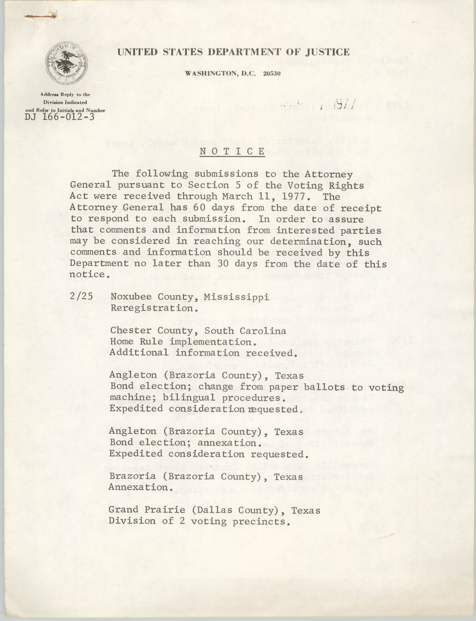 United States Department of Justice Notice, March 11, 1977, Page 1