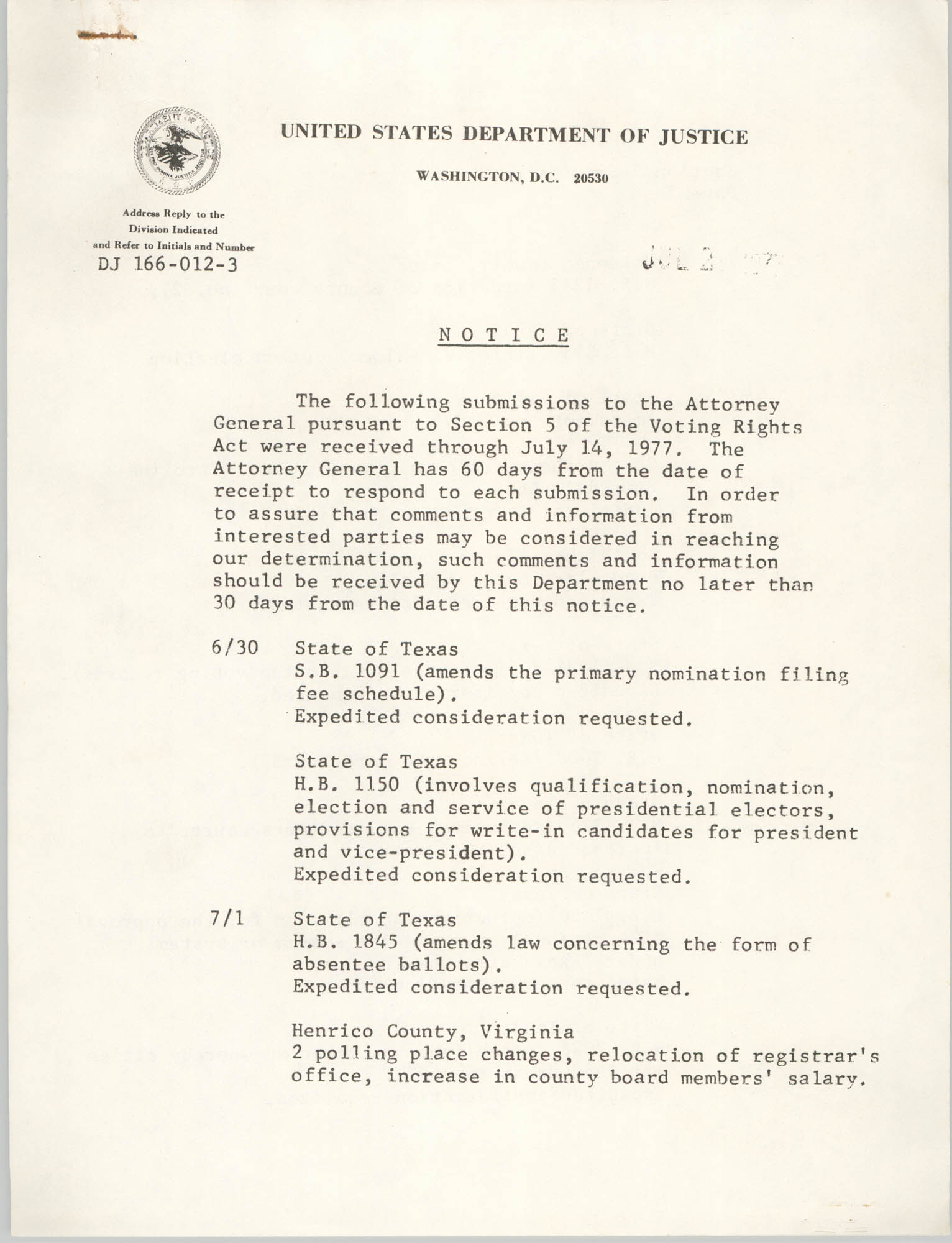 United States Department of Justice Notice, July 14, 1977, Page 1