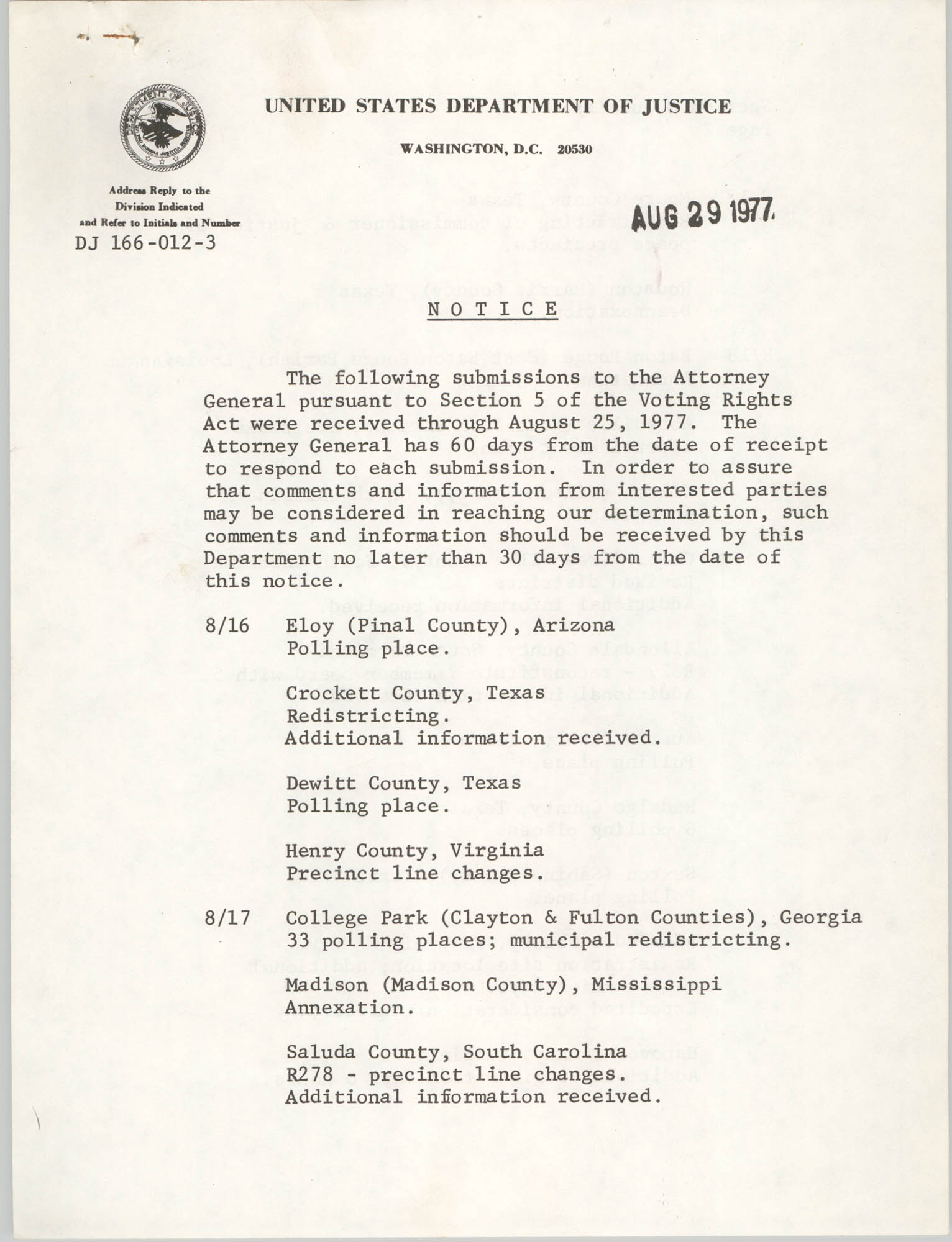 United States Department of Justice Notice, August 29, 1977, Page 1