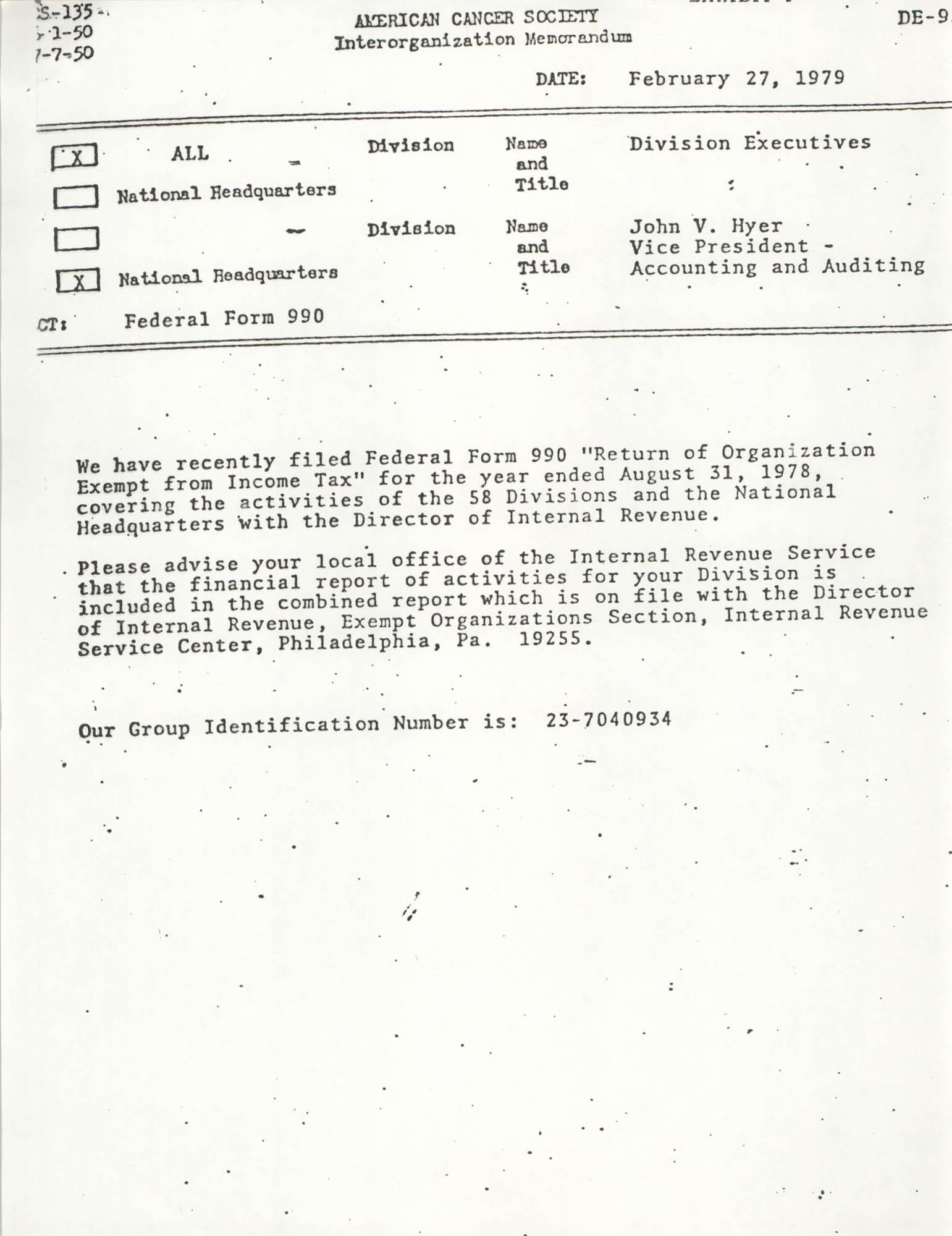 American Cancer Society Program, Federal Form 990