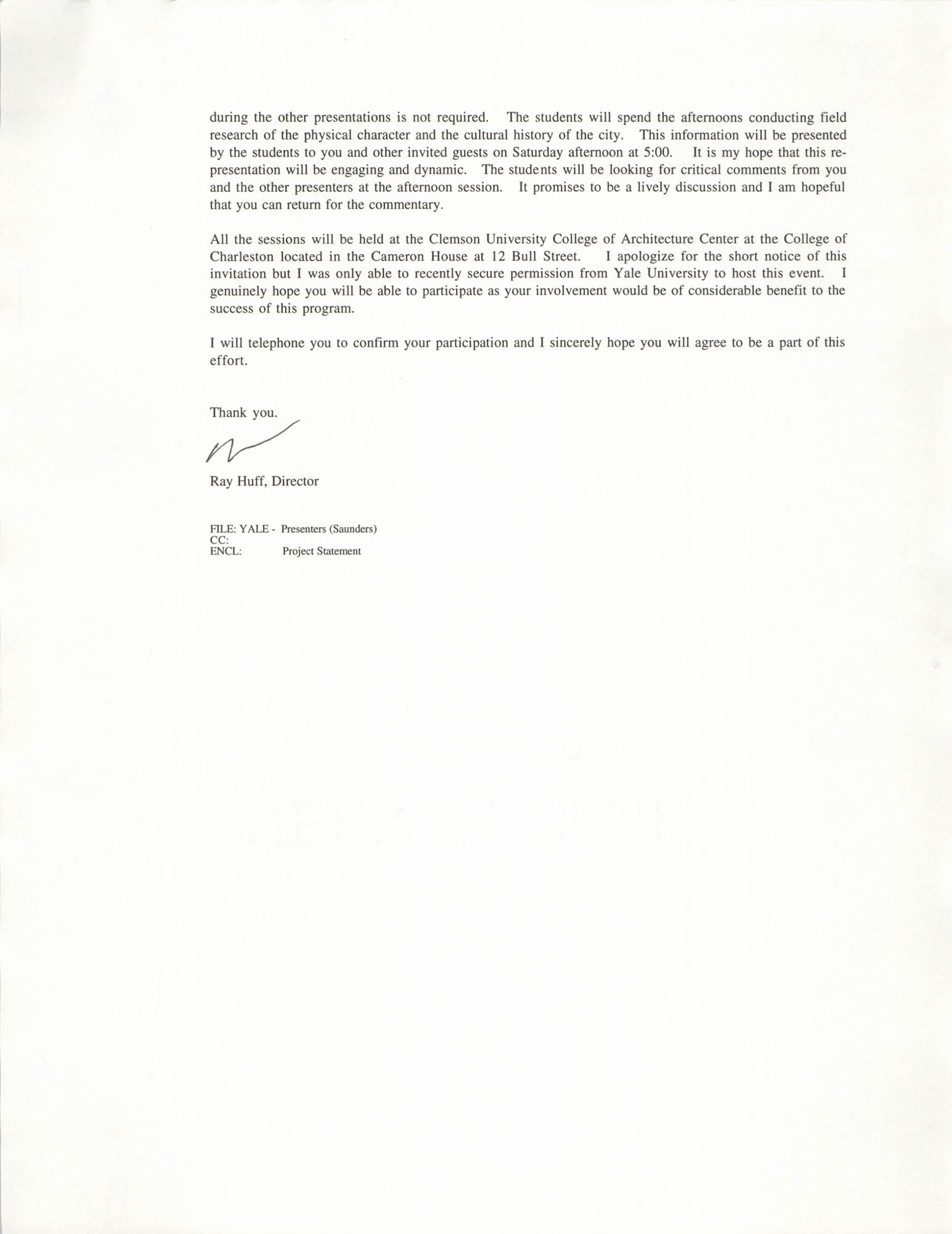 Letter from Ray Huff to William Saunders, September 14, 1994, Page 2